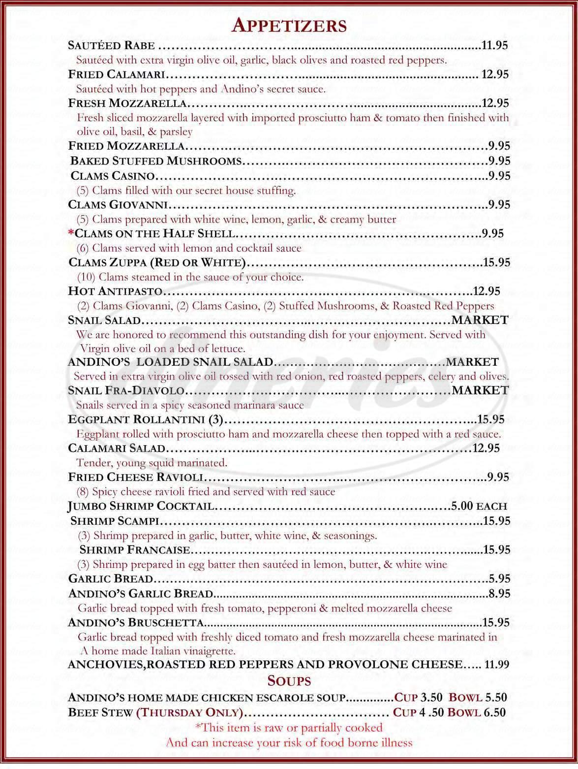 menu for Andino's