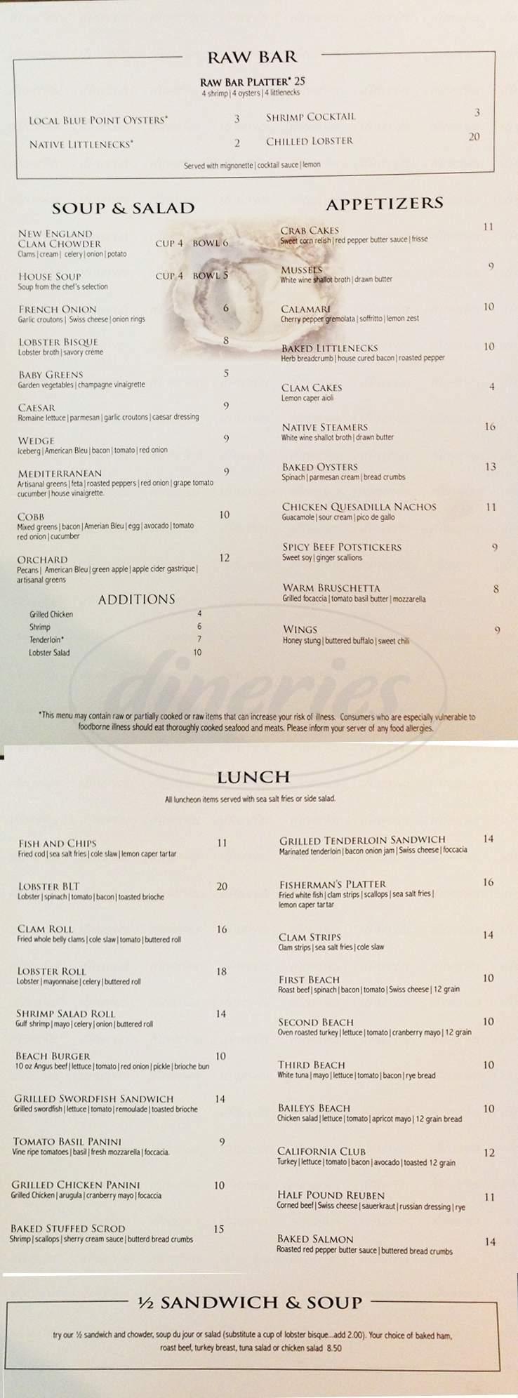 menu for Atlantic Beach Club