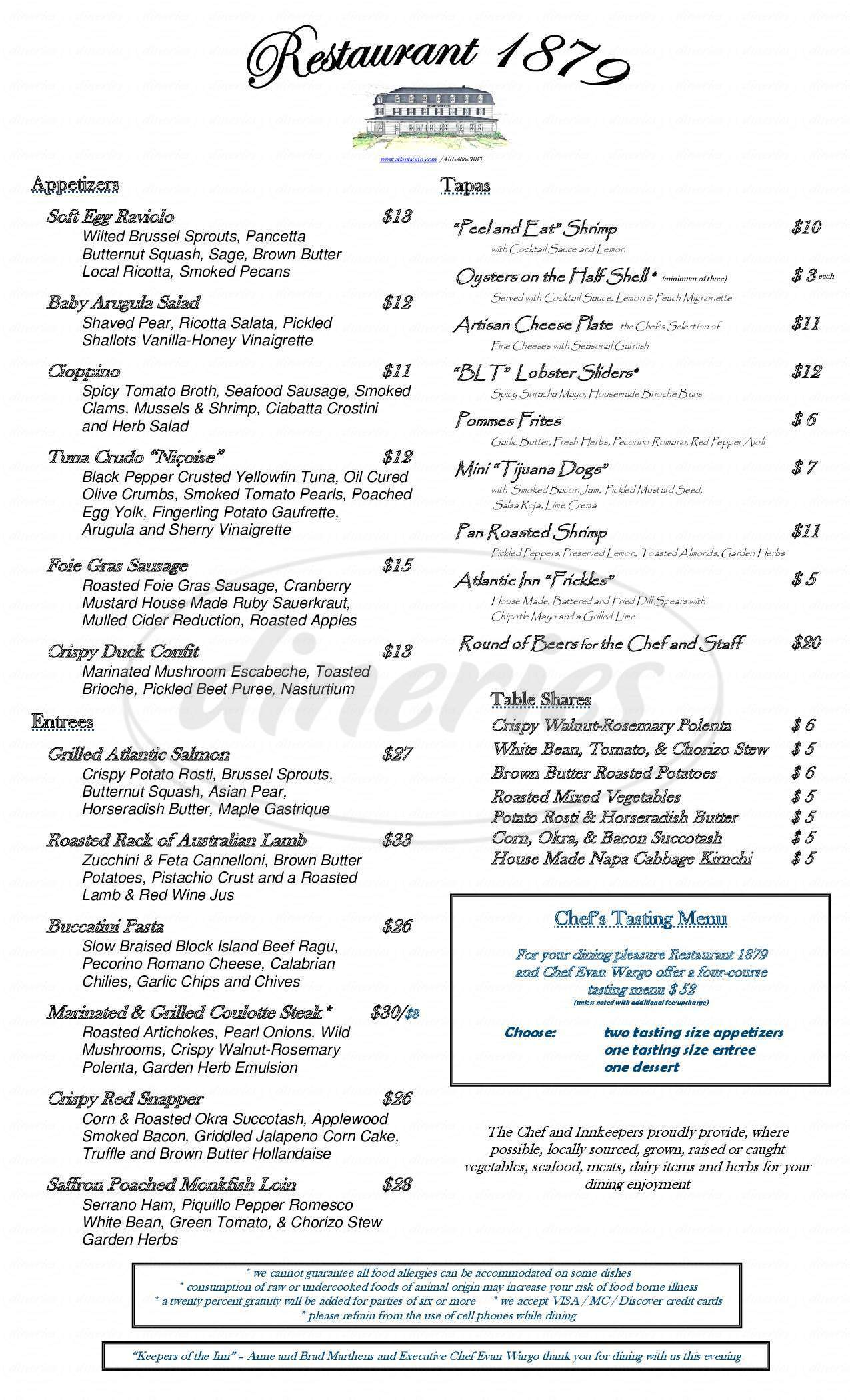 menu for Atlantic Inn