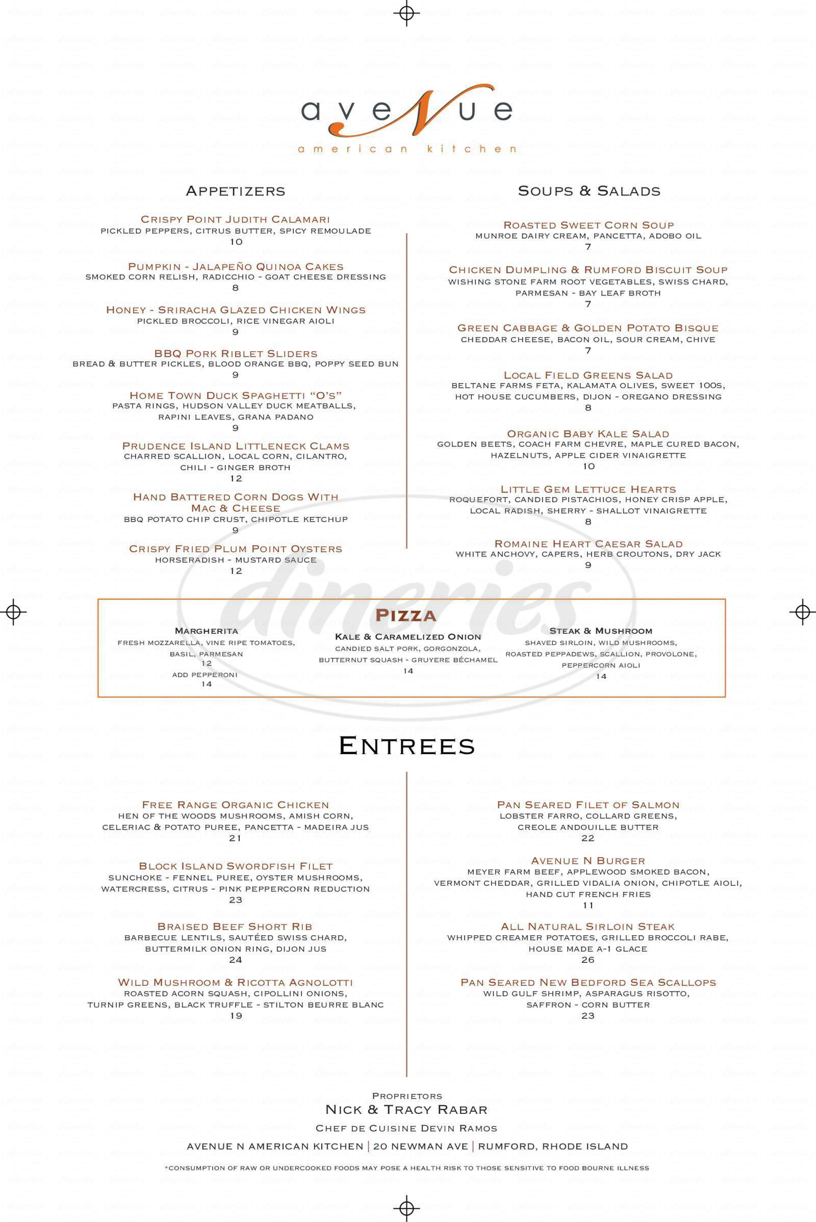 menu for Avenue N