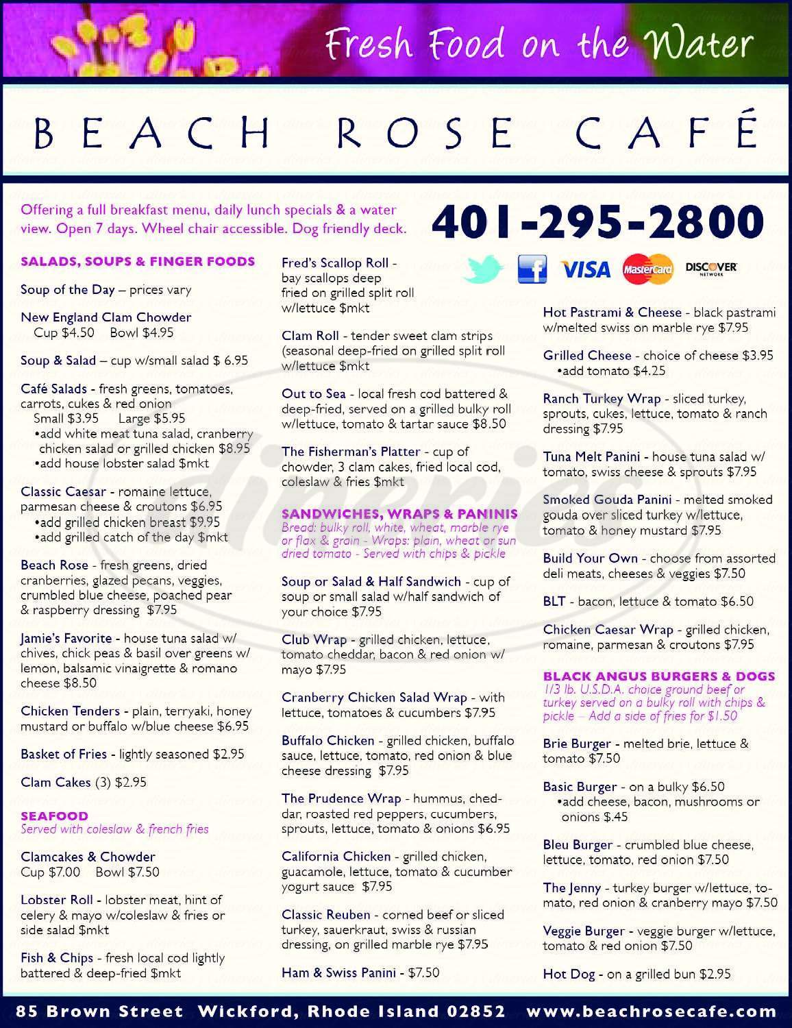 menu for The Beach Rose Cafe