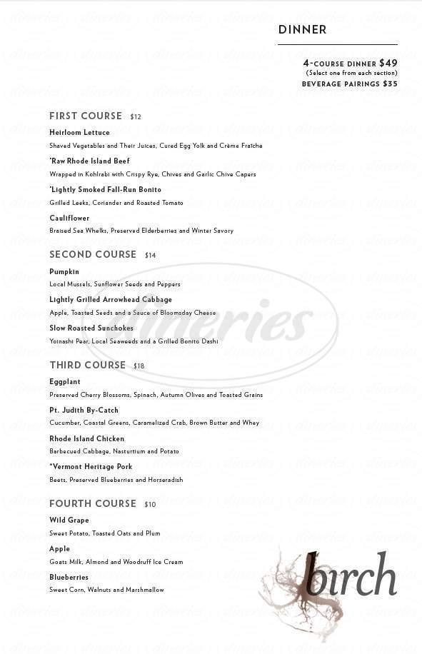 menu for birch