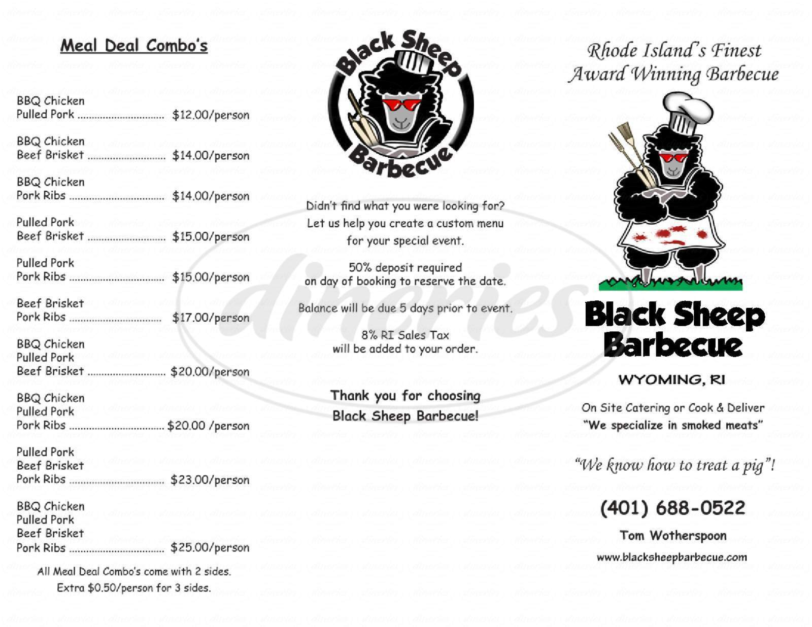 menu for Black Sheep Barbecue