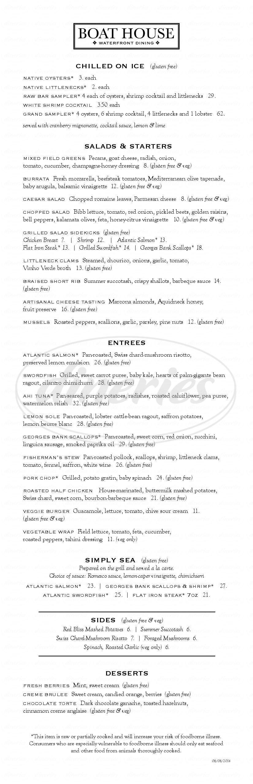 menu for Boat House