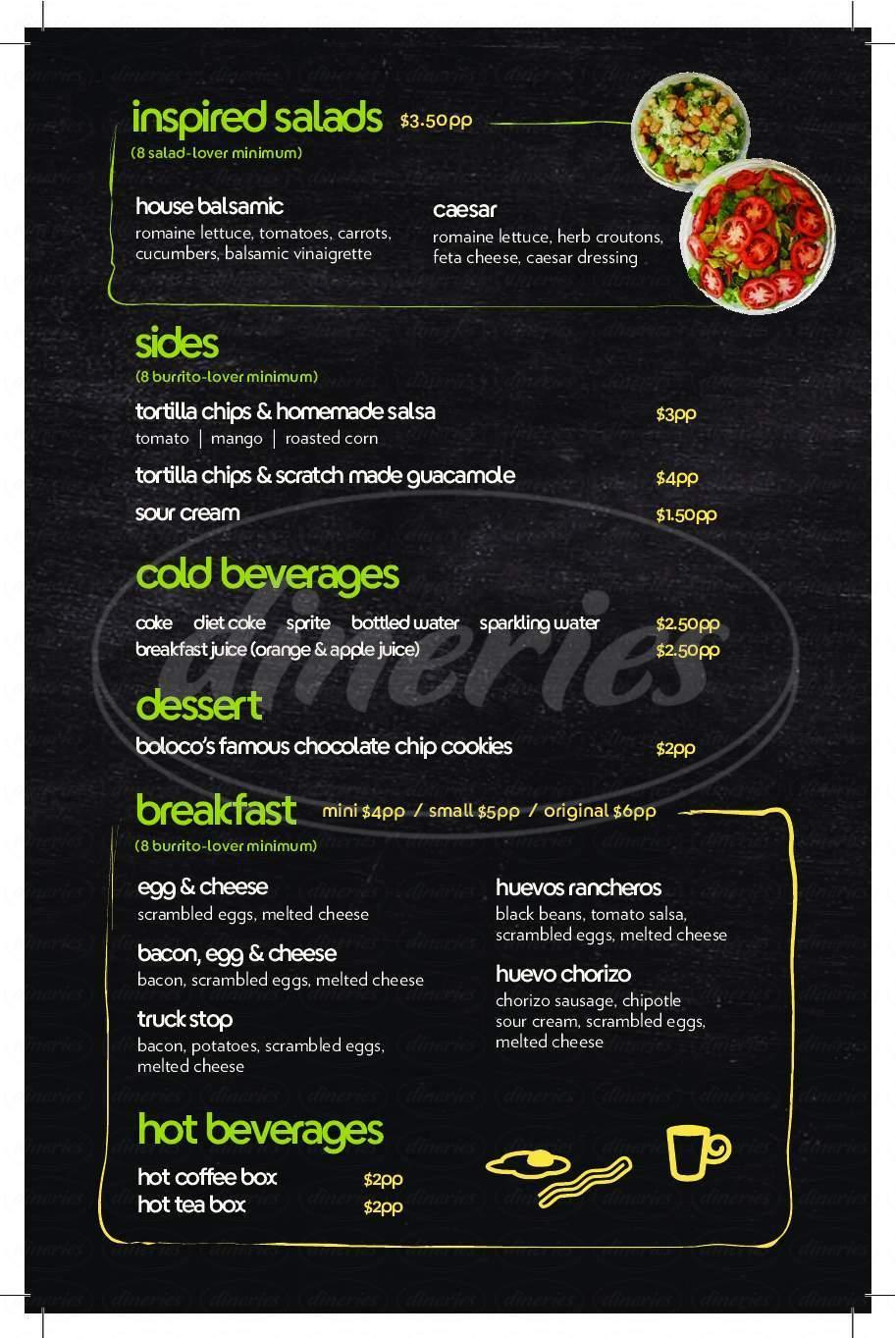menu for Boloco Burritos