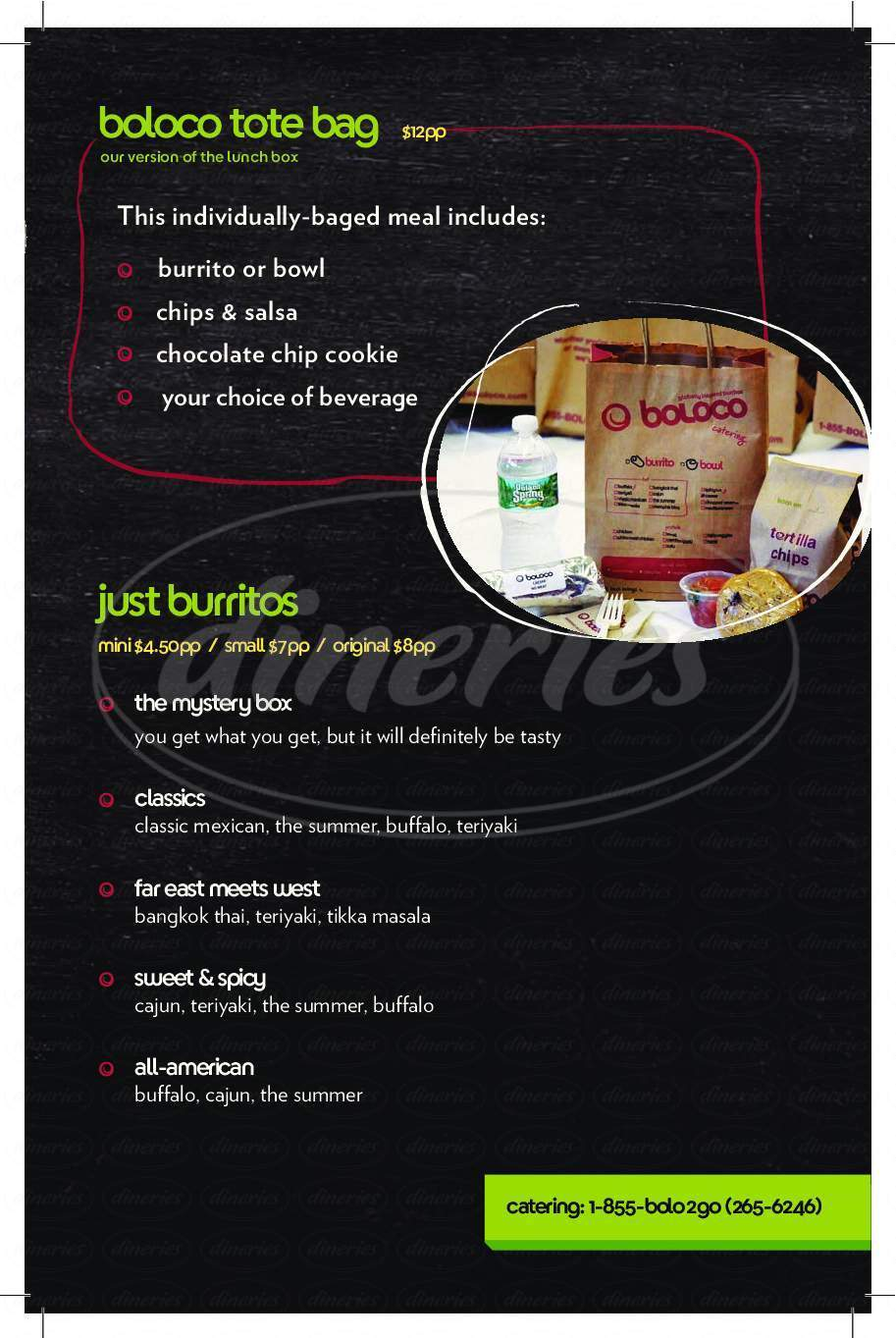 menu for Boloco Burritos