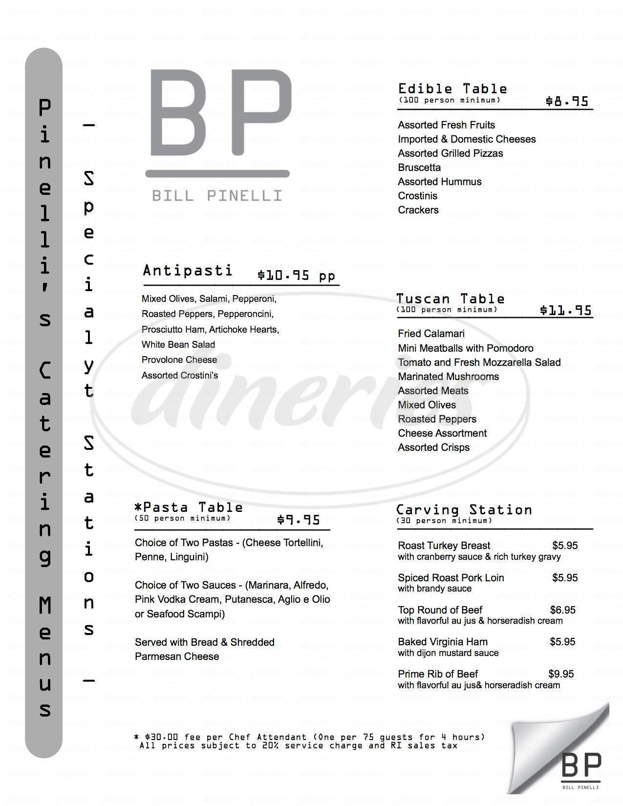 menu for B. Pinelli's