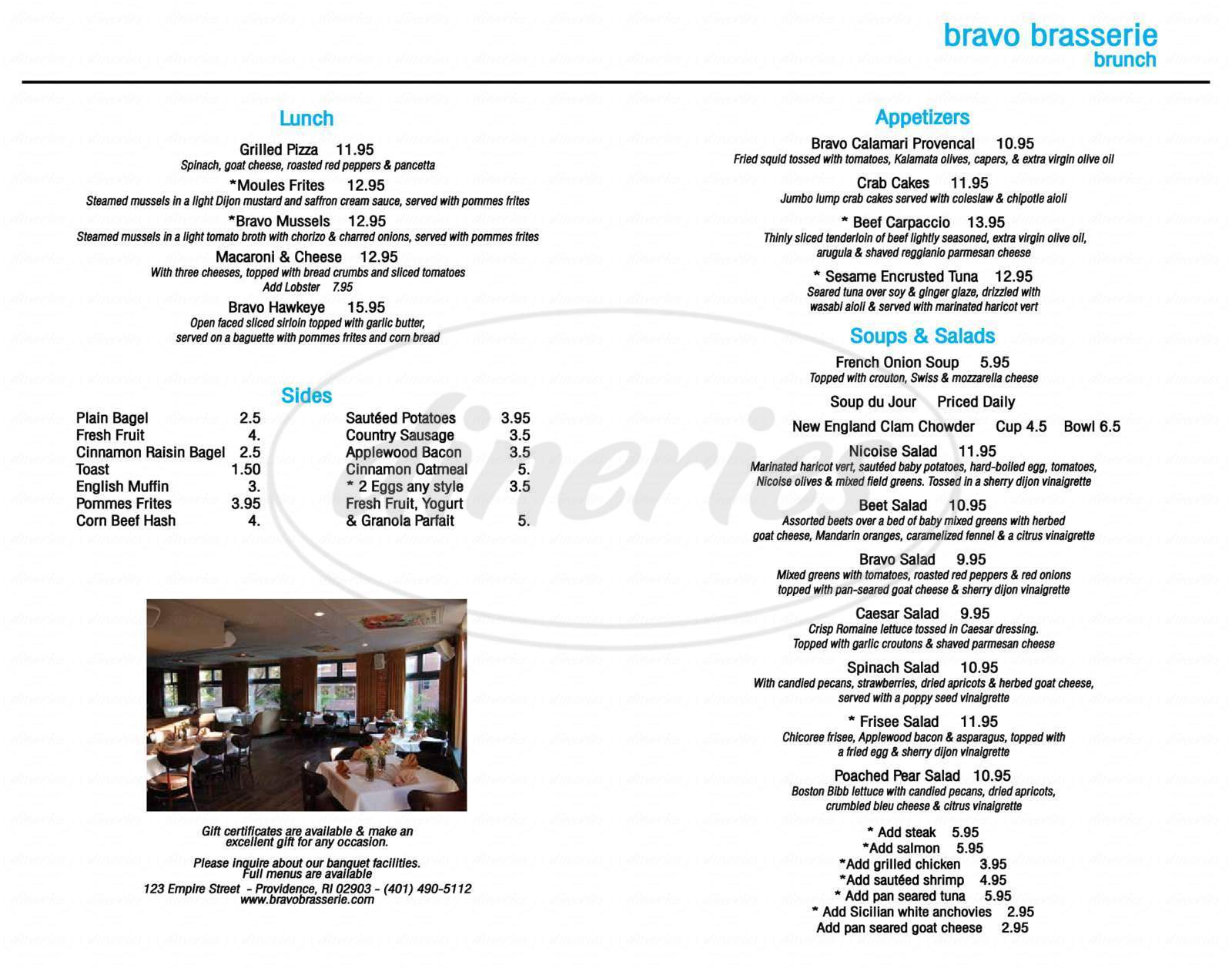 menu for Bravo Brasserie