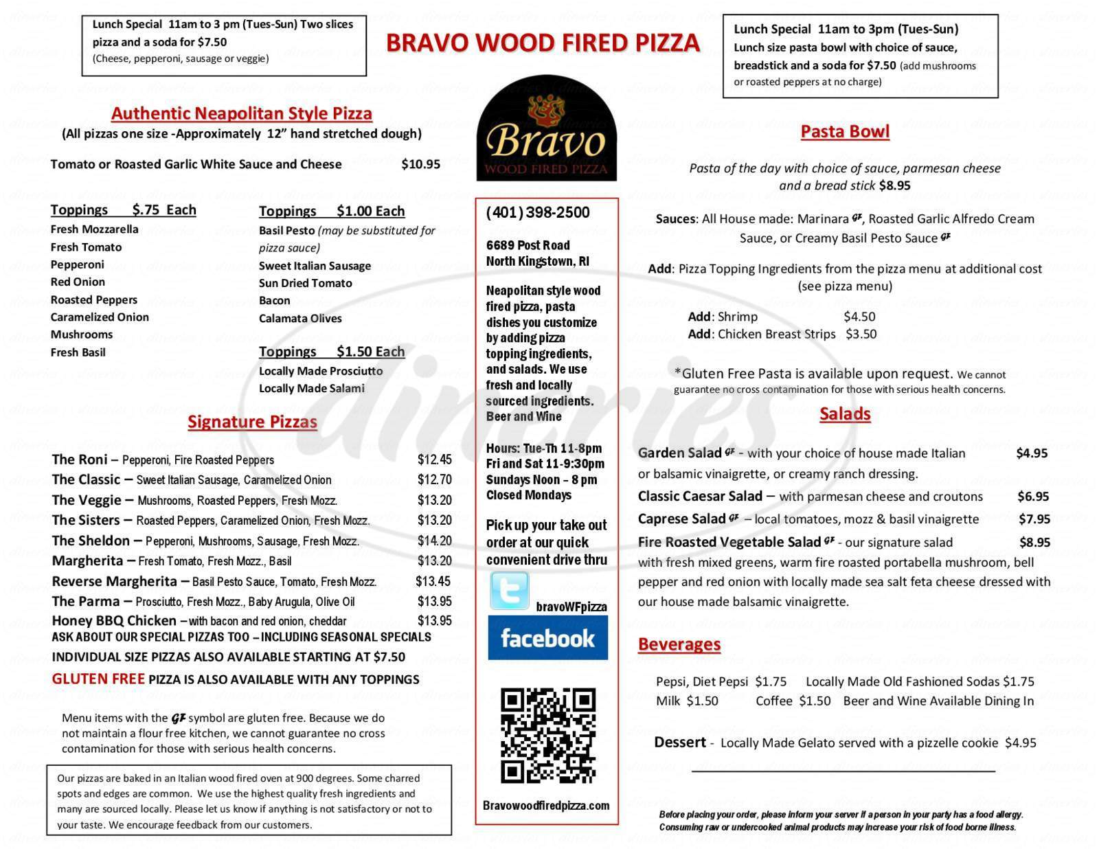 menu for Bravo Wood Fired Pizza
