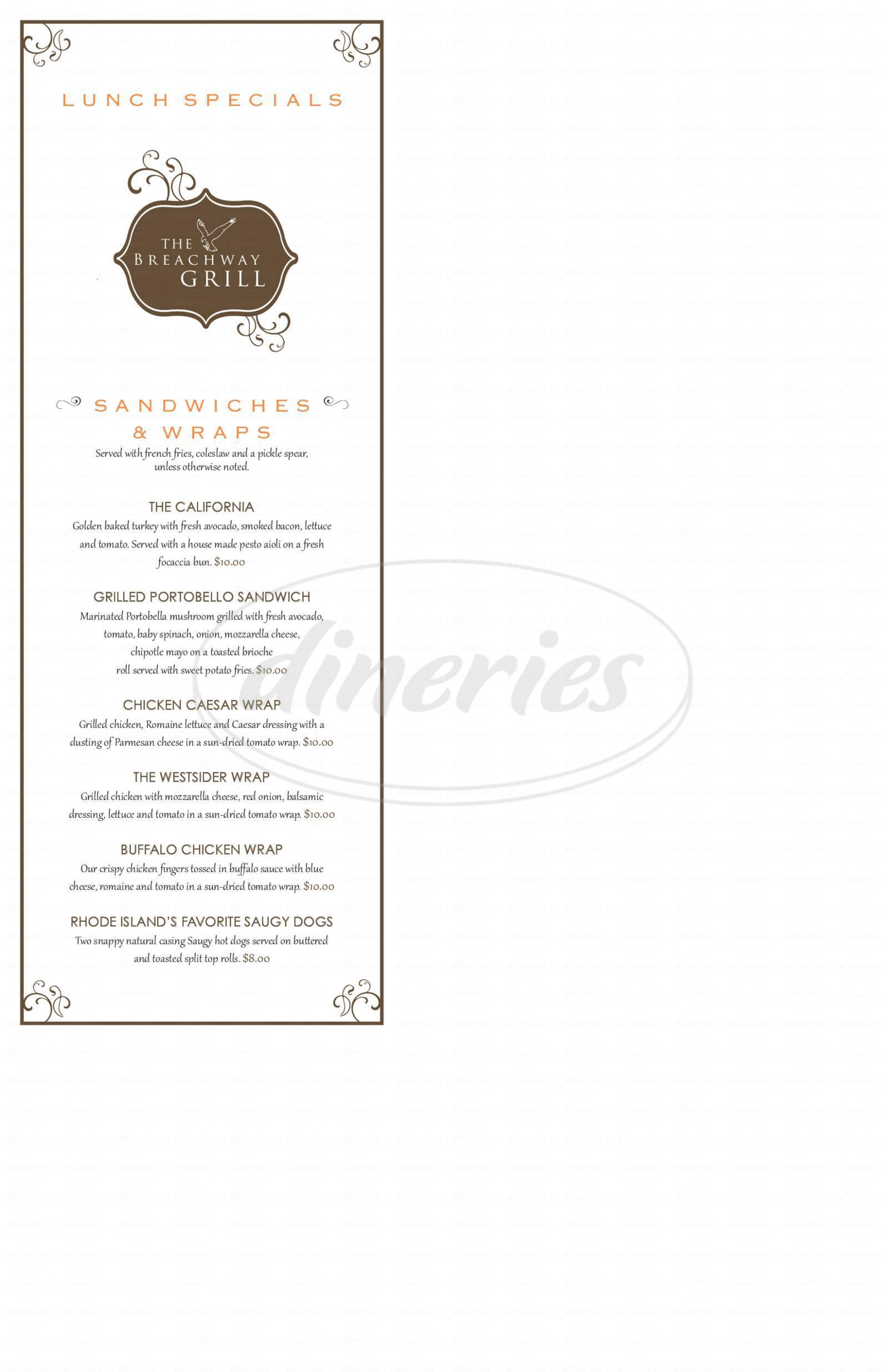menu for The Breachway Grill