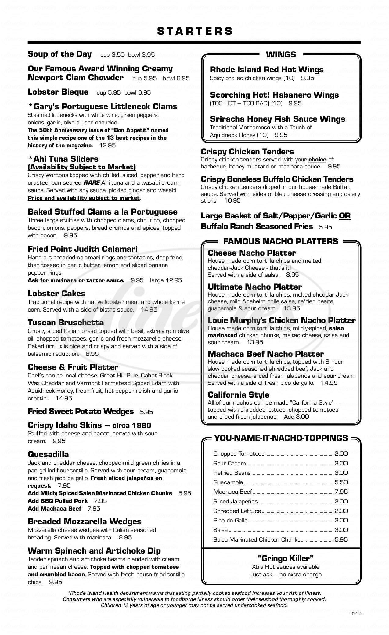 menu for Brick Alley Pub & Restaurant