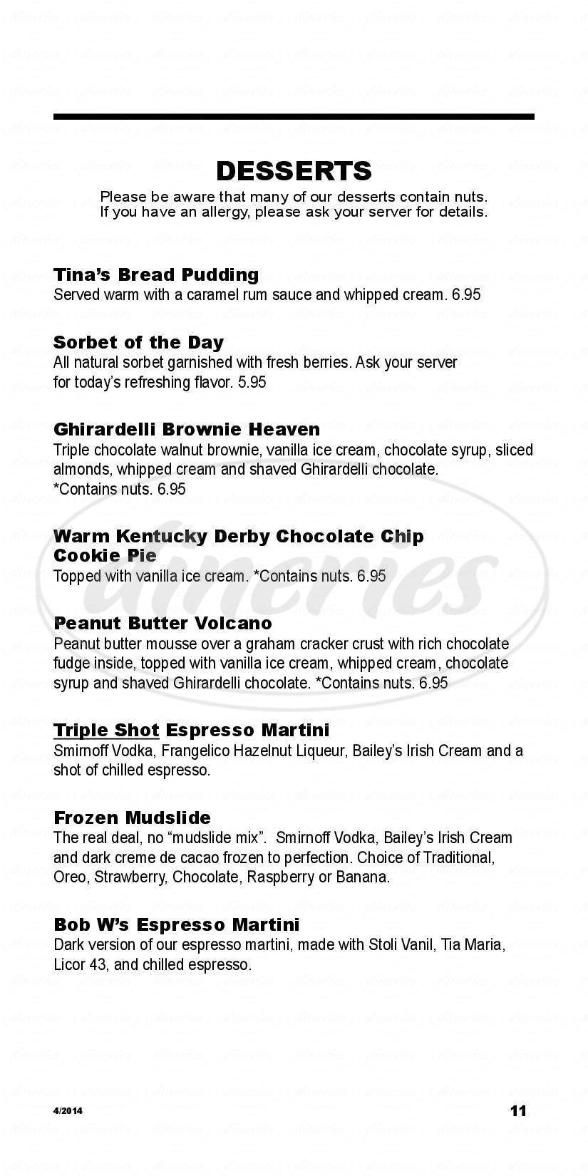 menu for Brick Alley Pub & Restaurant