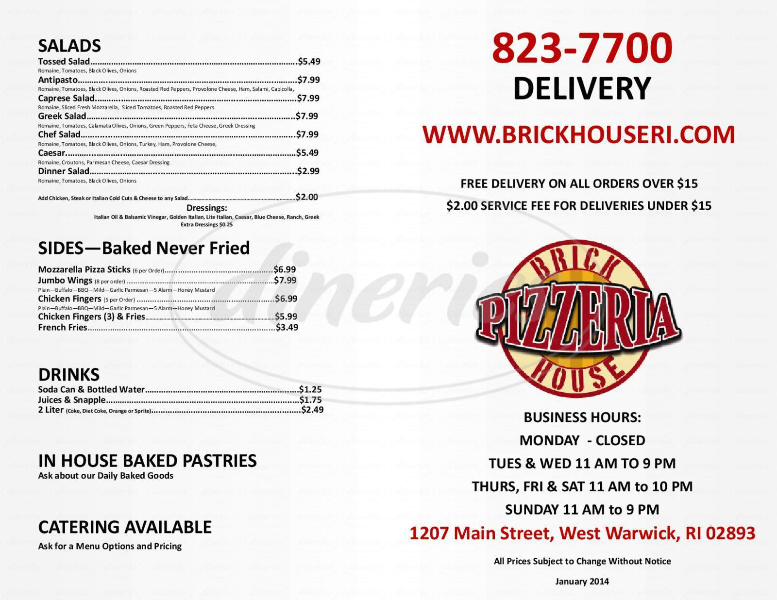 menu for Brick House Pizzeria