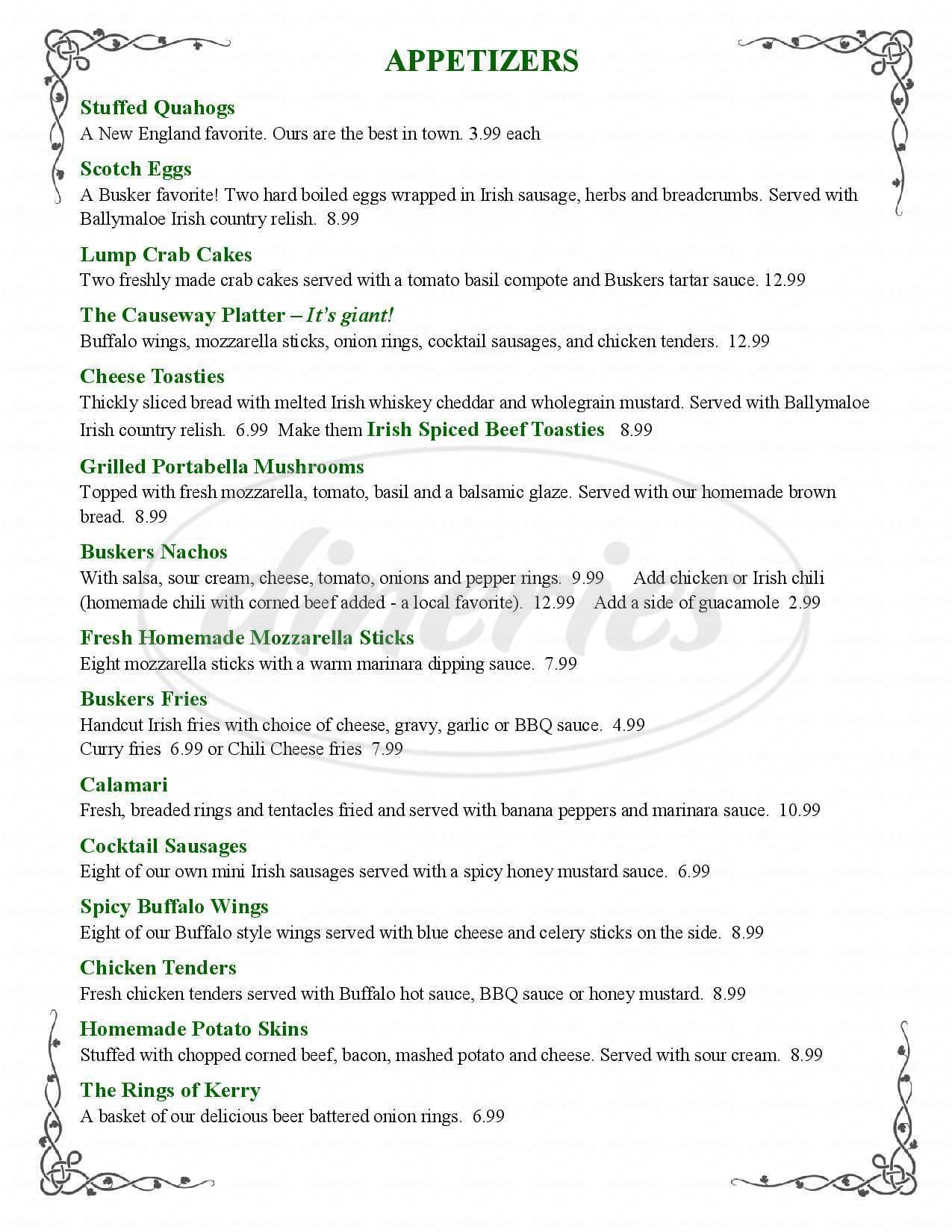 menu for Buskers