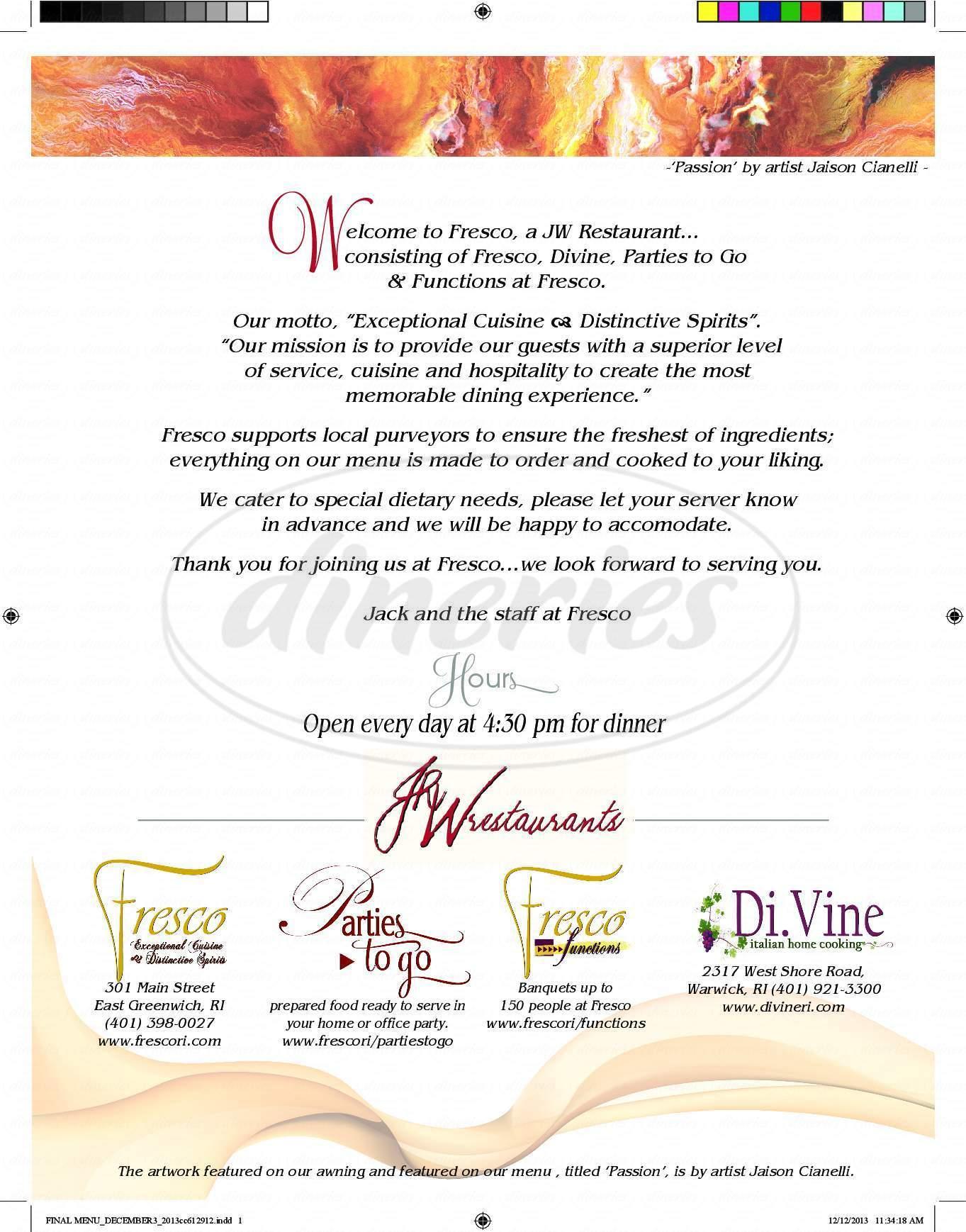 menu for Cafe Fresco
