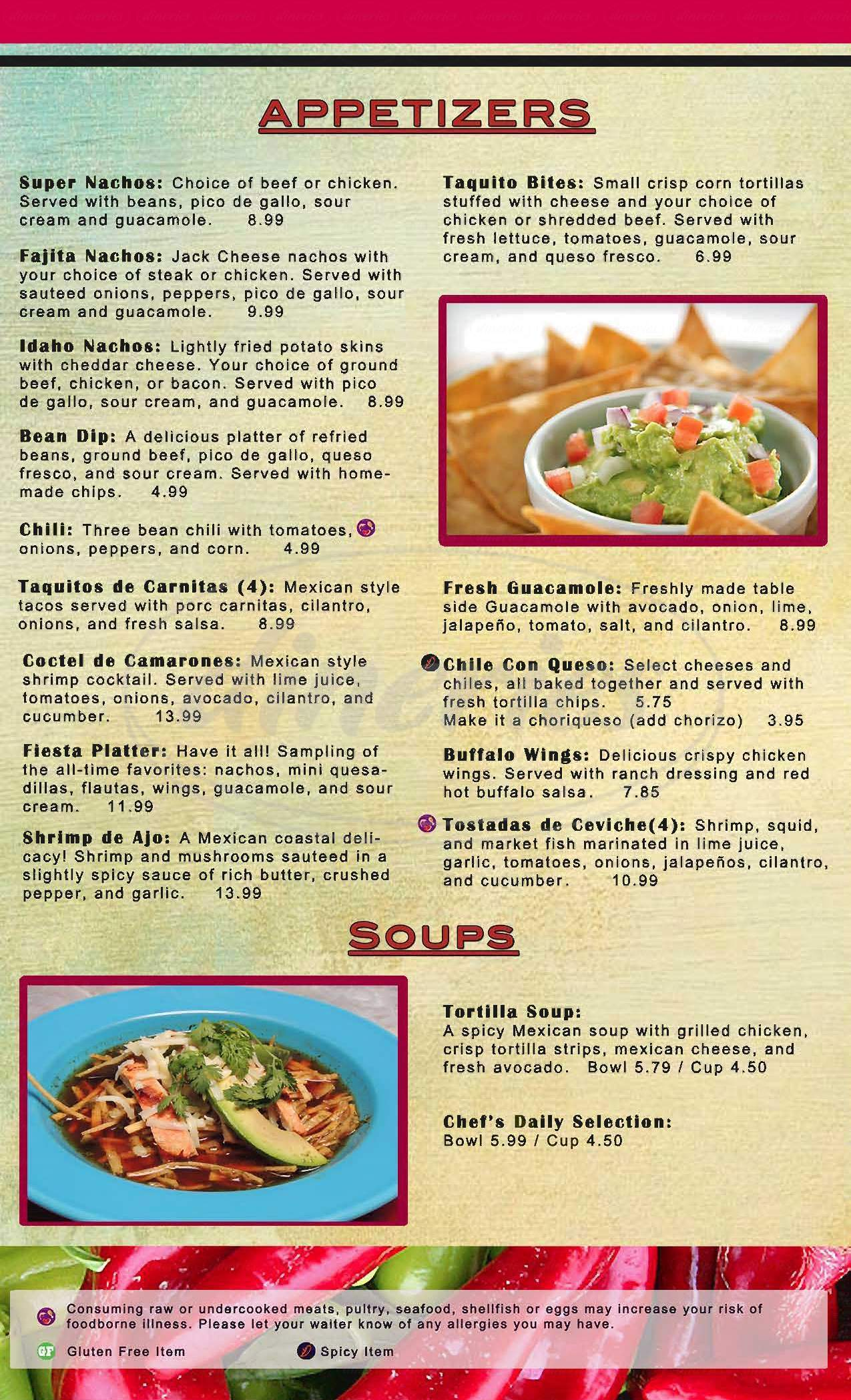 menu for Cancún Family Mexican Restaurant
