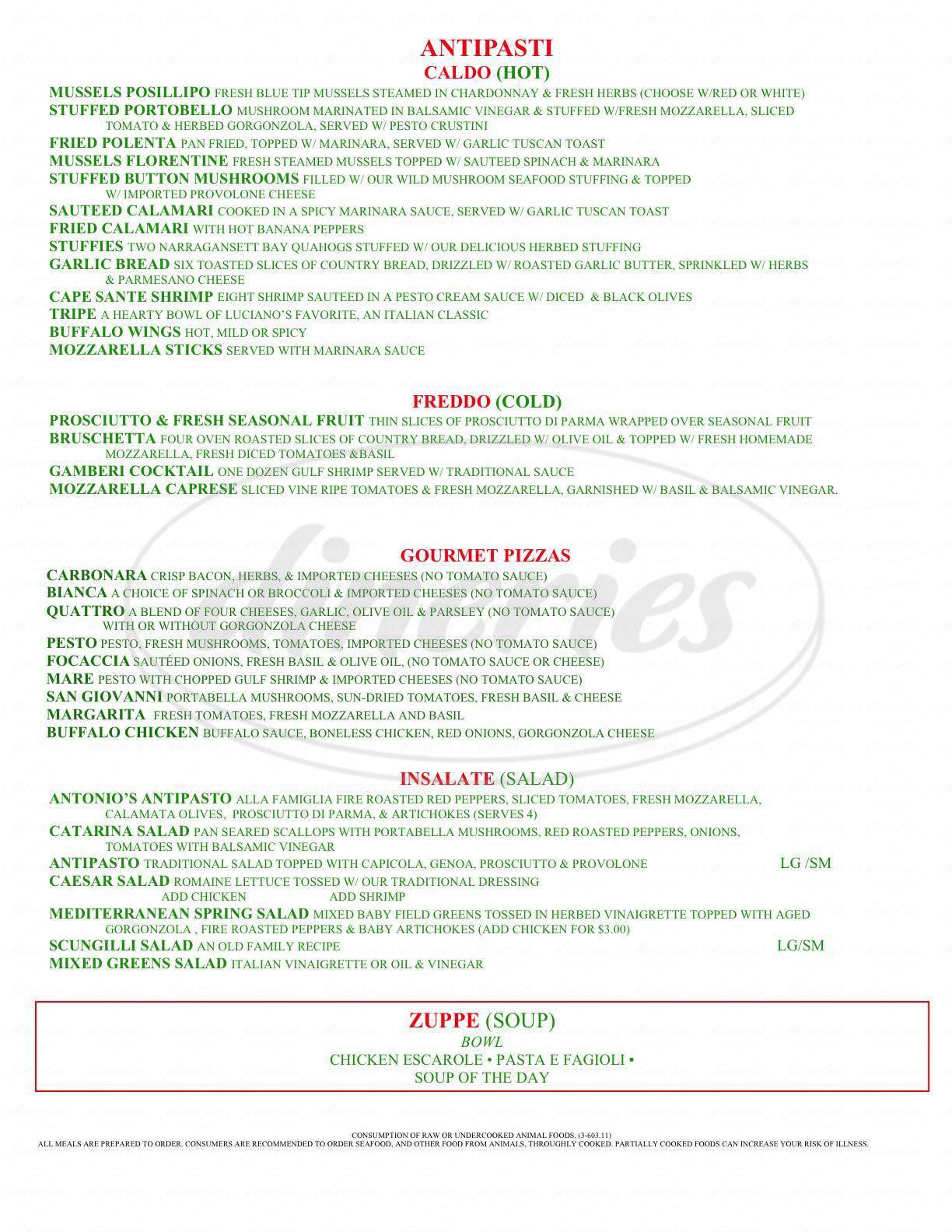 menu for Catarina's Italian Village