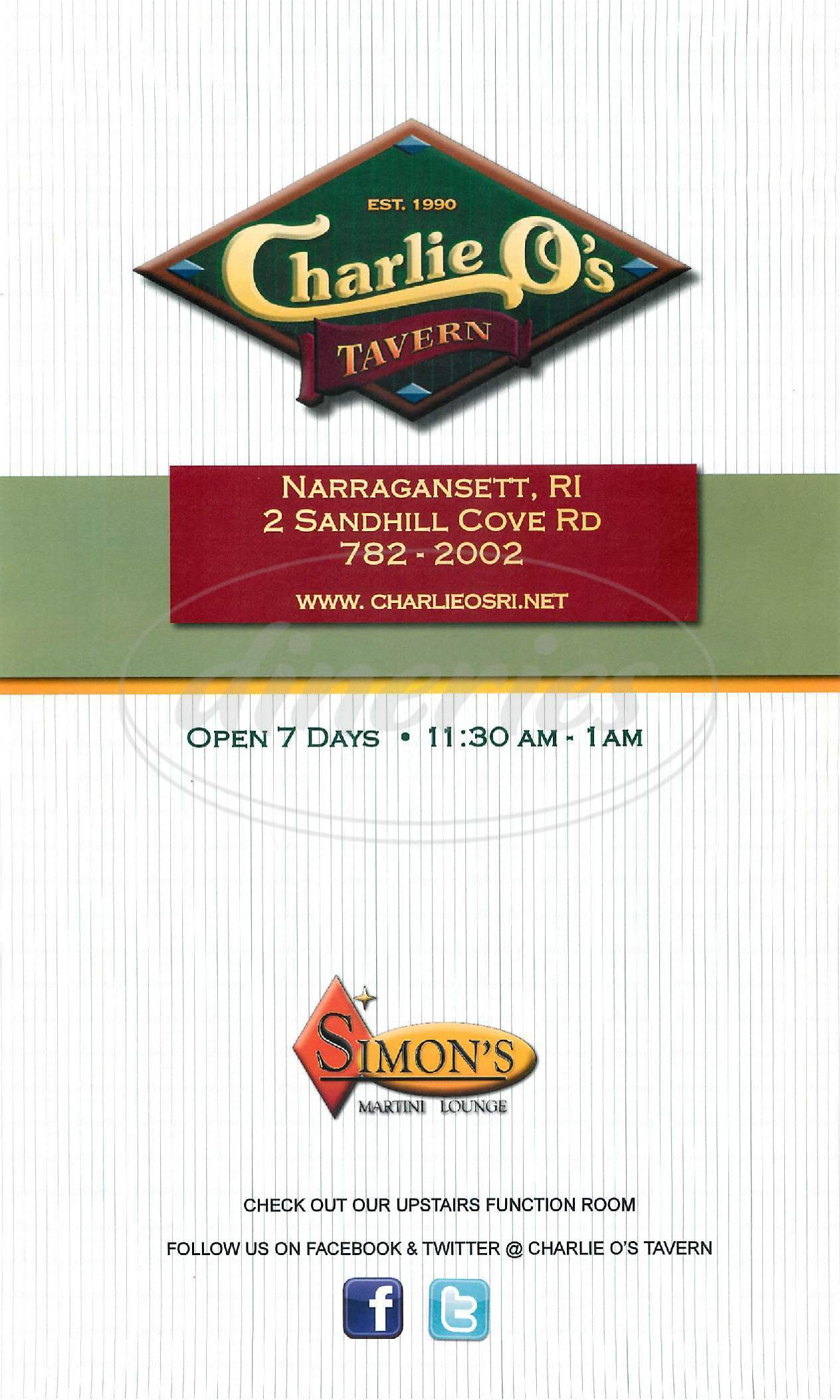 menu for Charlie O's Tavern On the Point