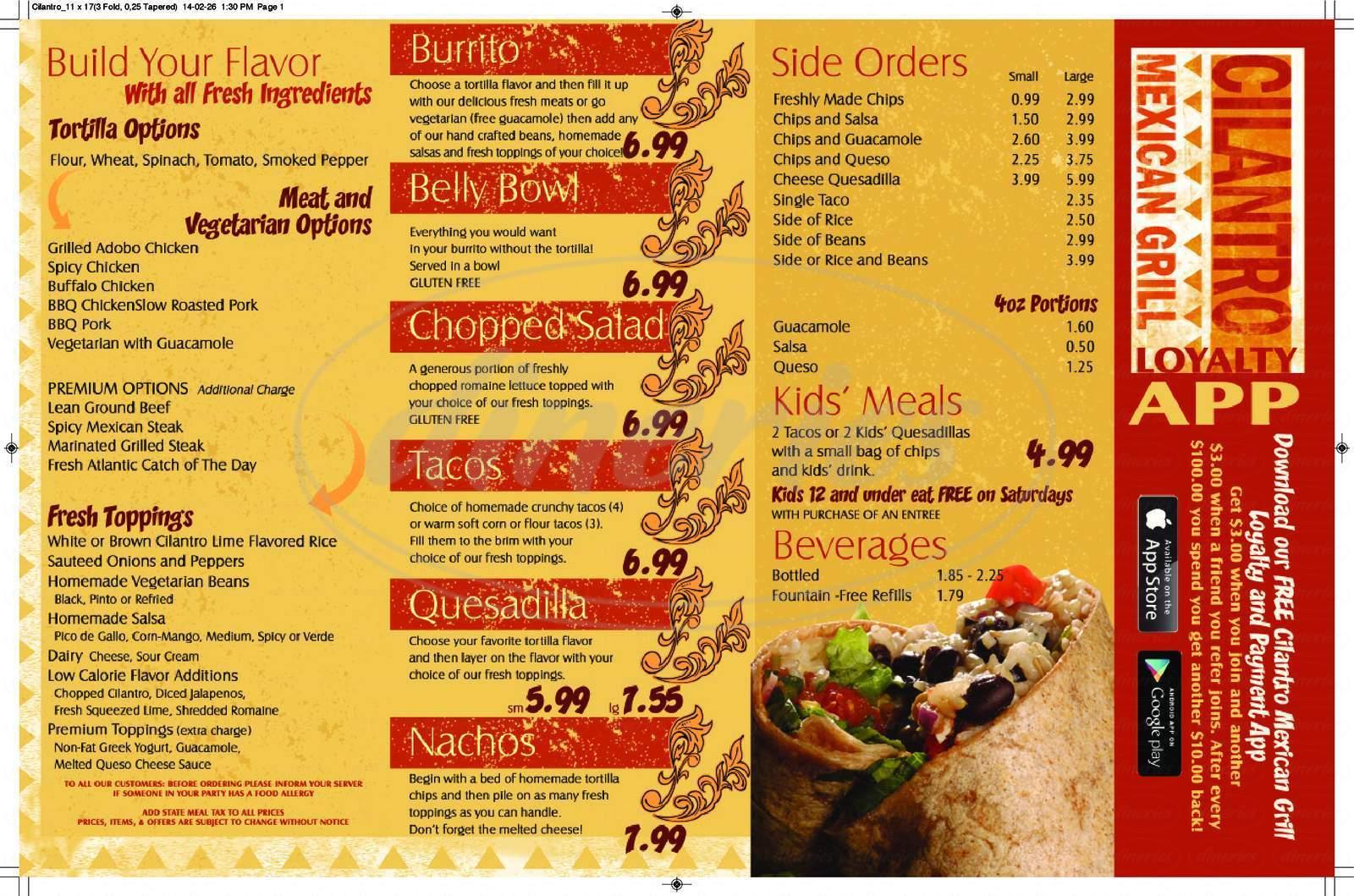 menu for Cilantro Mexican Grill