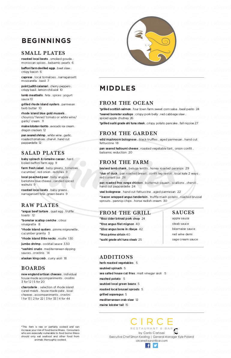 menu for Circe Restaurant & Bar
