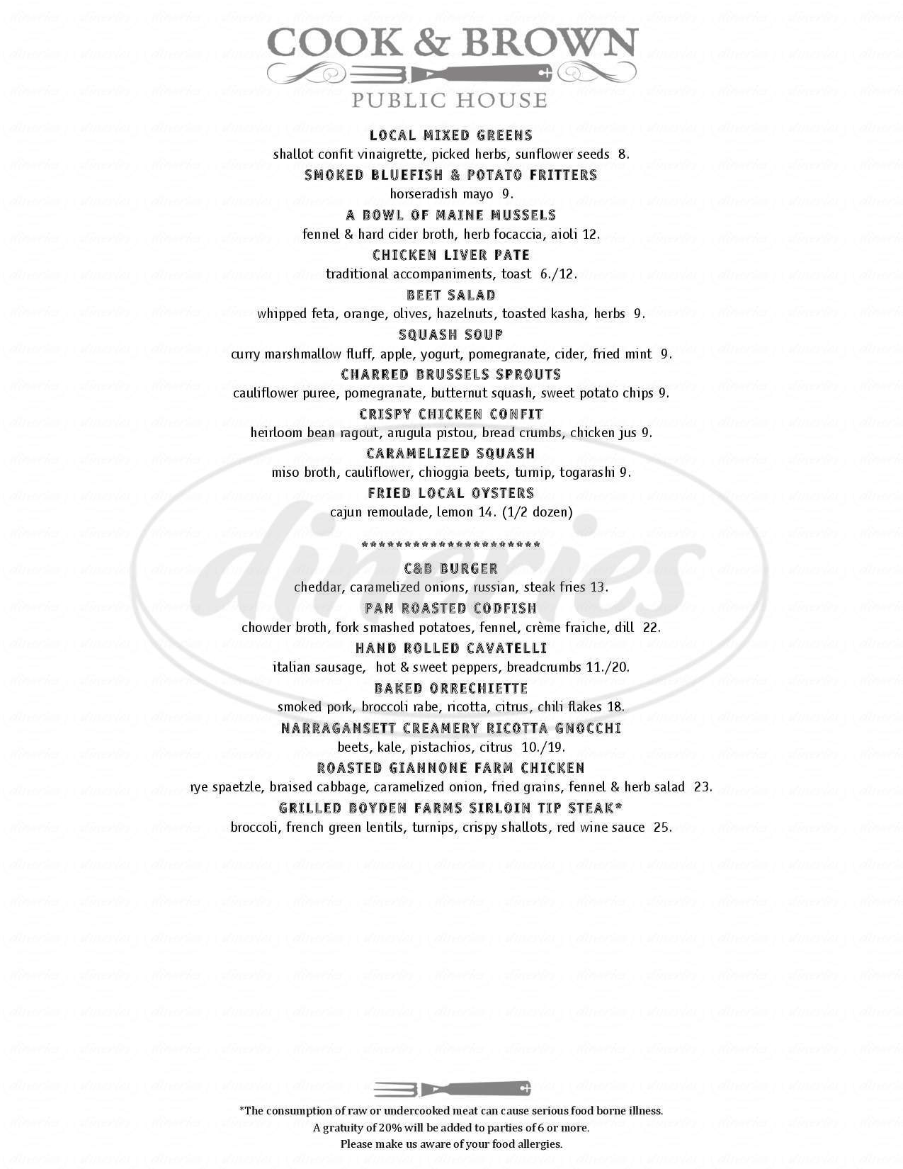 menu for Cook & Brown Public House