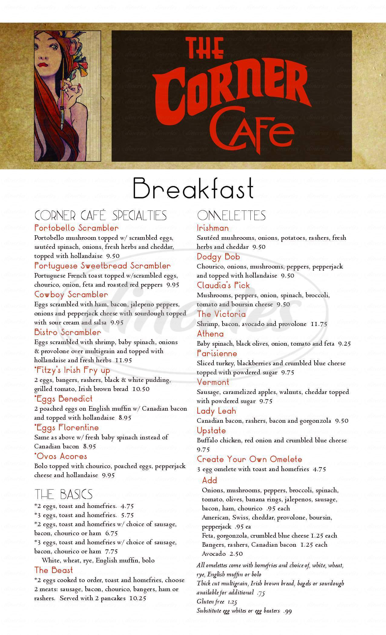 menu for Corner Cafe