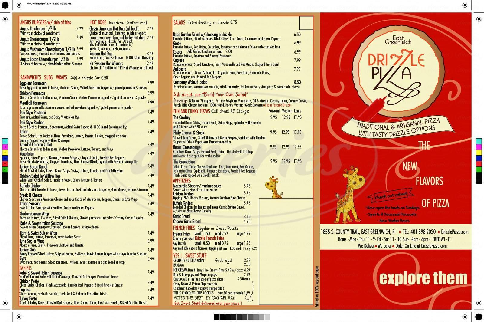menu for Drizzle Pizza