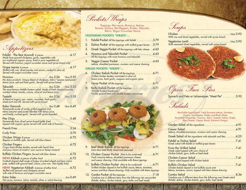 menu for East Side Pockets
