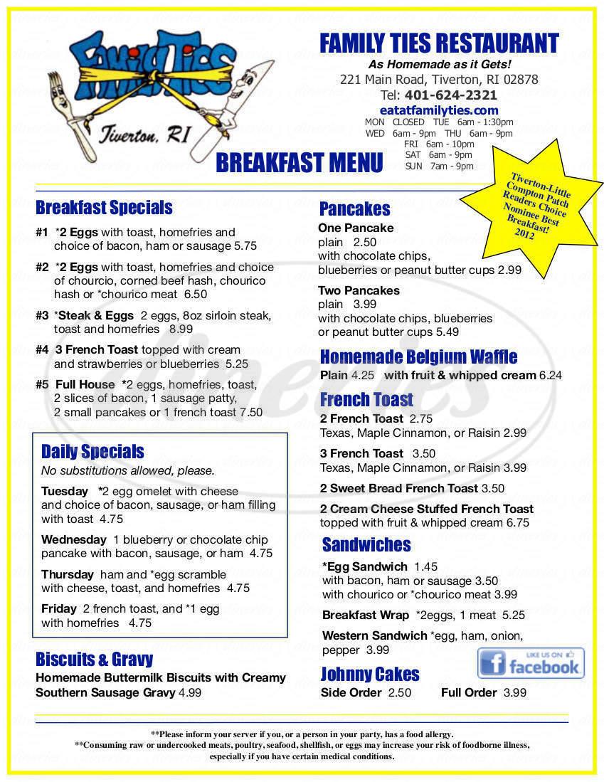 menu for Family Ties Restaurant