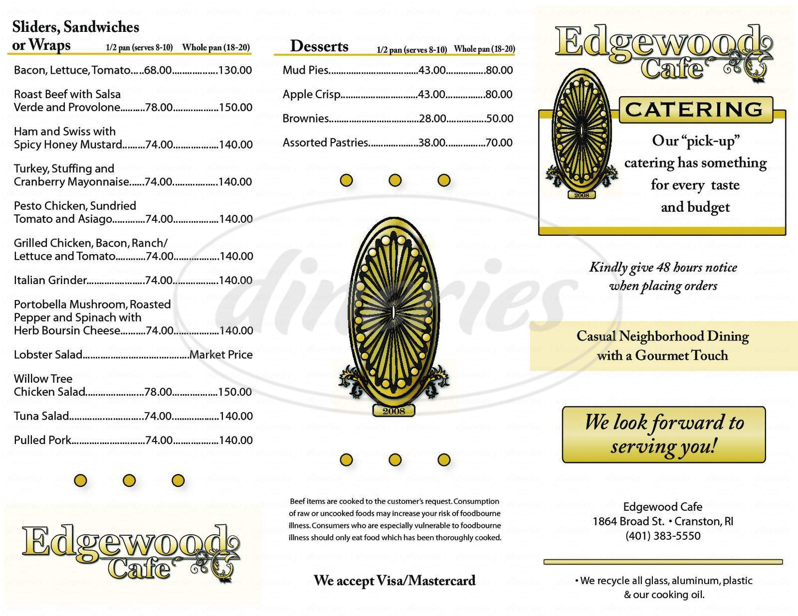 menu for Edgewood Cafe