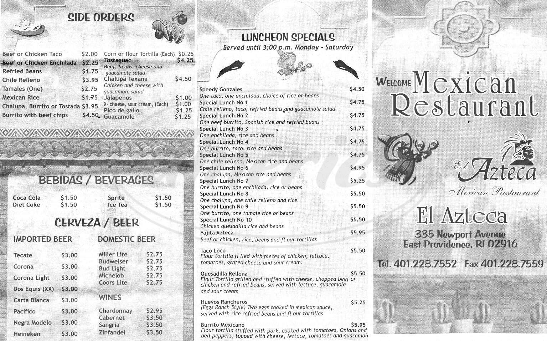 menu for El Azteca