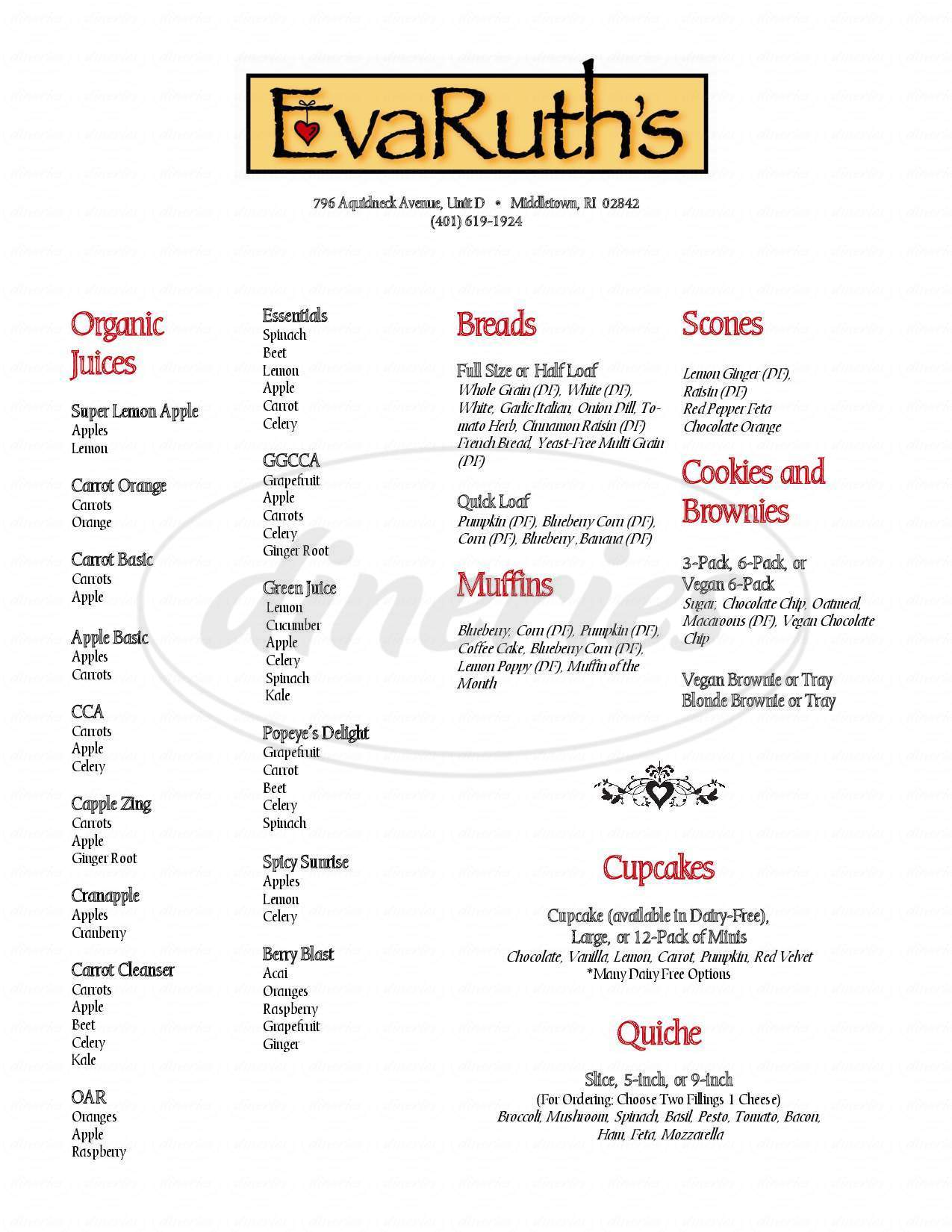 menu for EvaRuth's Specialty Bakery