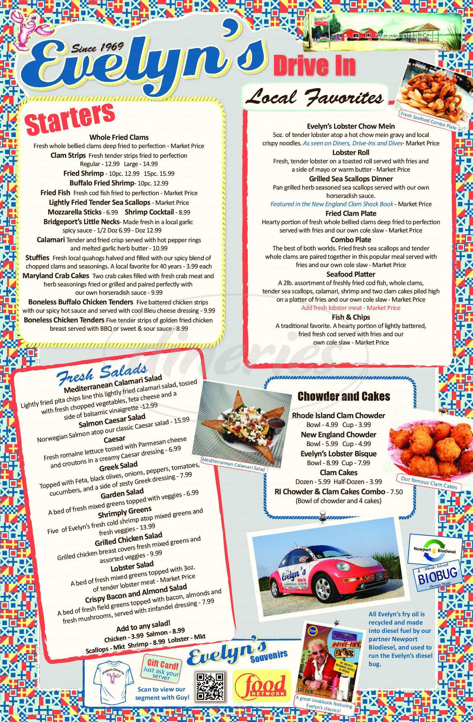 menu for Evelyn's Nanaquaket Drive-In