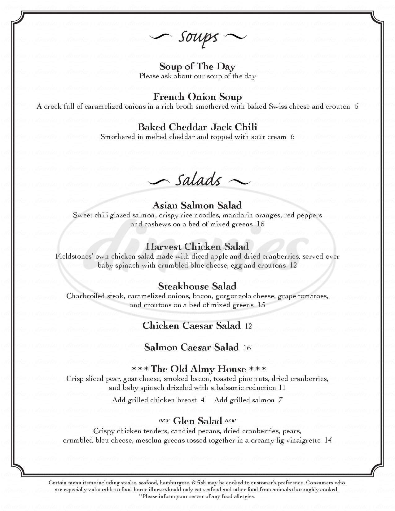 menu for Fieldstones Portsmouth Grille