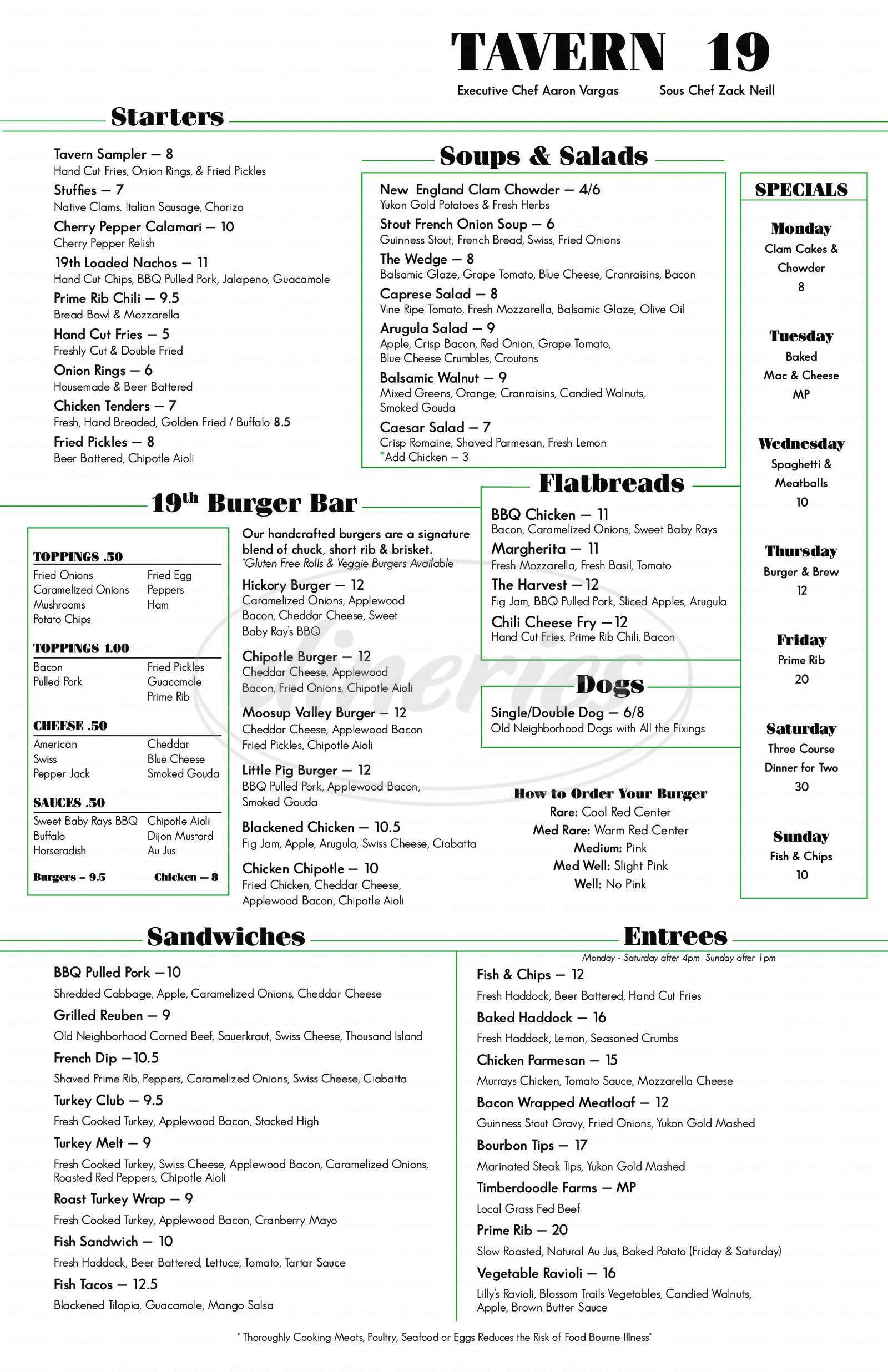 menu for Foster Country Club