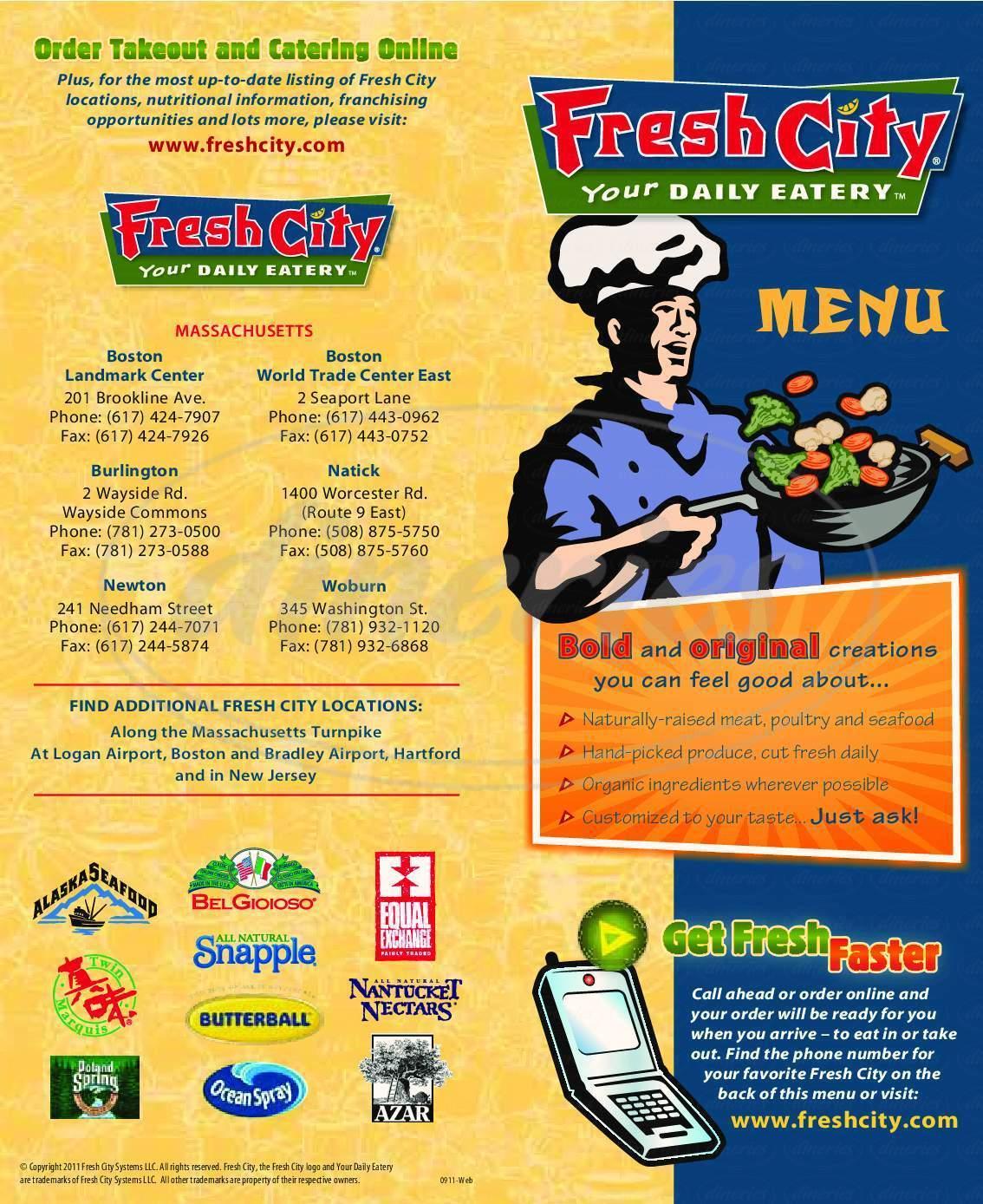 menu for Fresh City