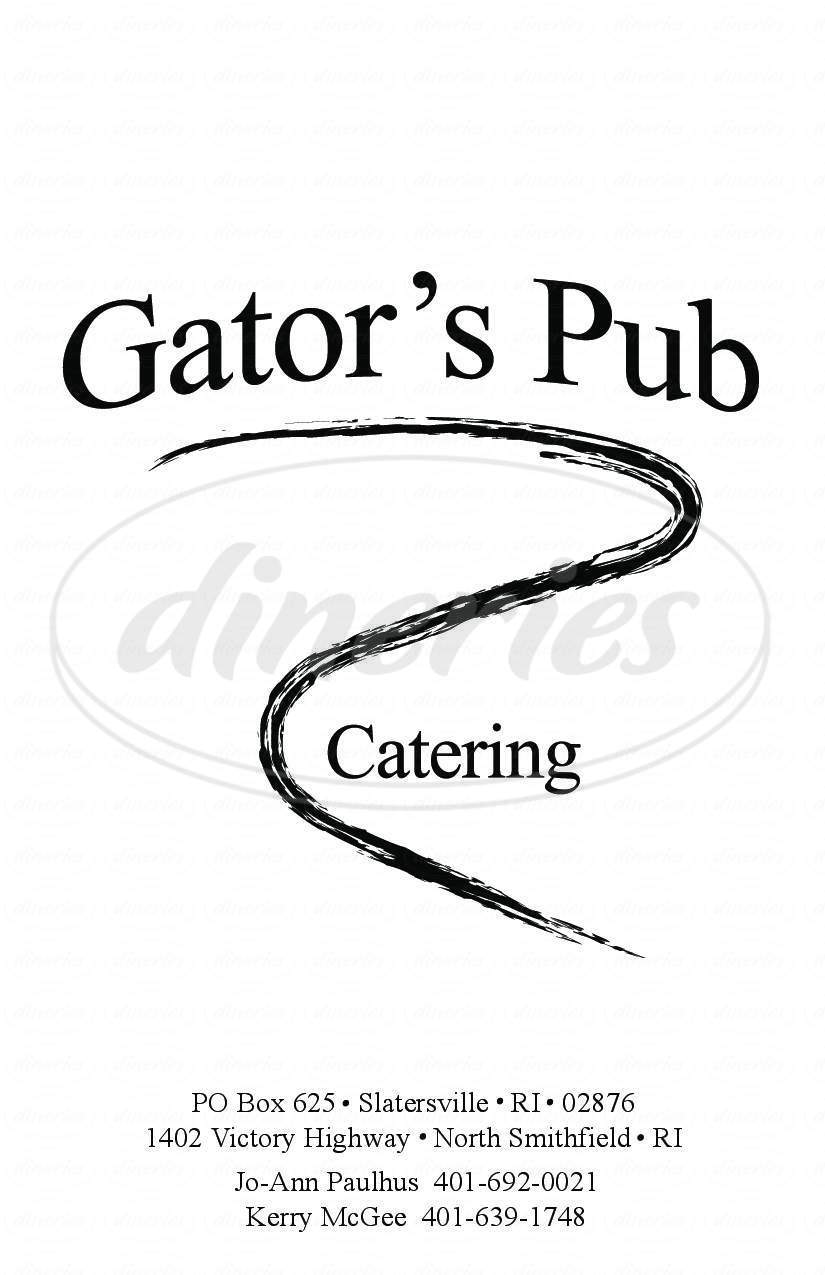 menu for Gator's Pub