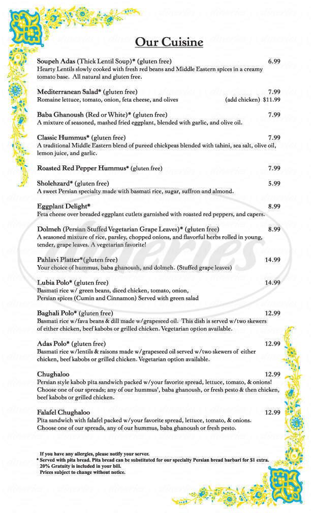 menu for Genie's Hookah Lounge