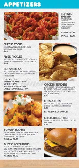 menu for Hooters