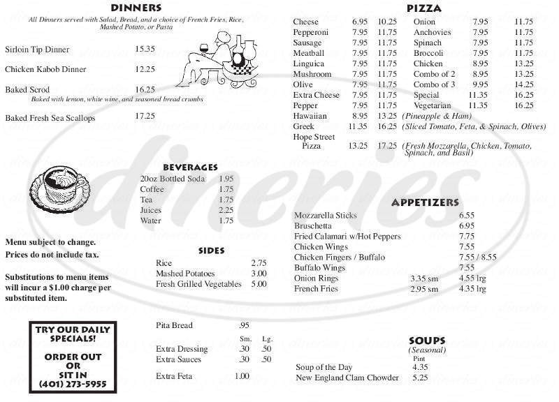 menu for Hope Street Pizza & Family Restaurant
