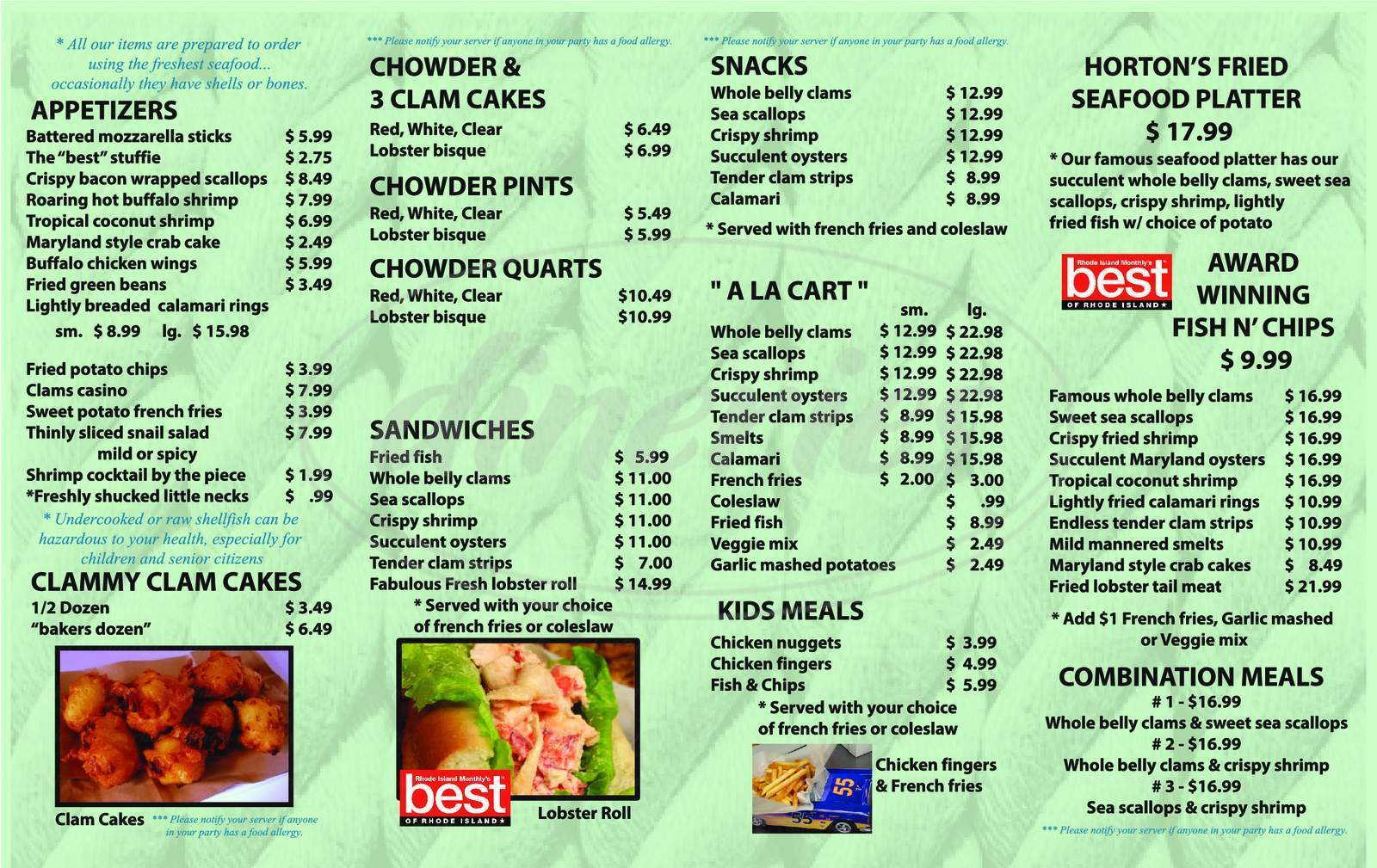 menu for Horton's Seafood