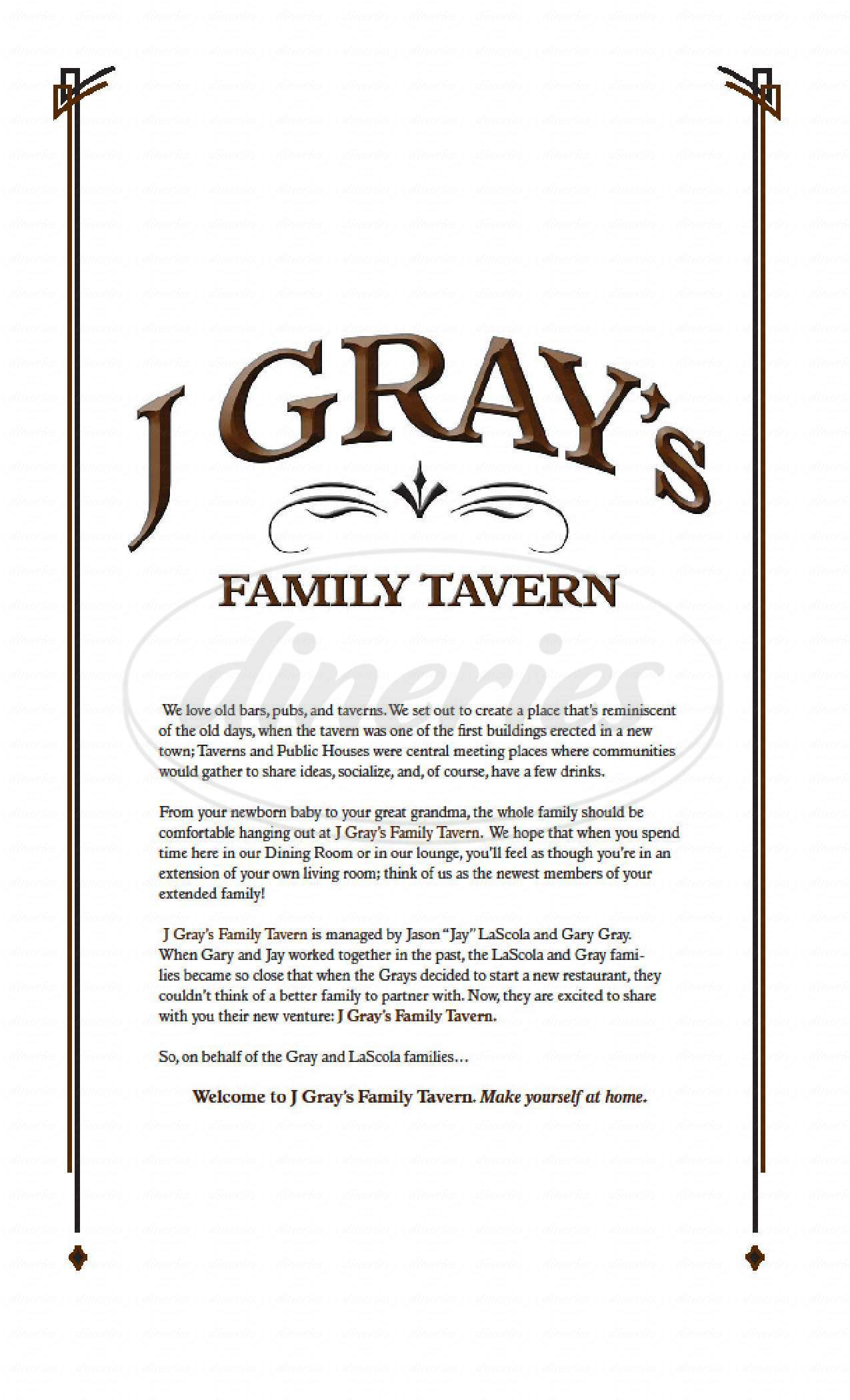 menu for J Gray's Family Tavern