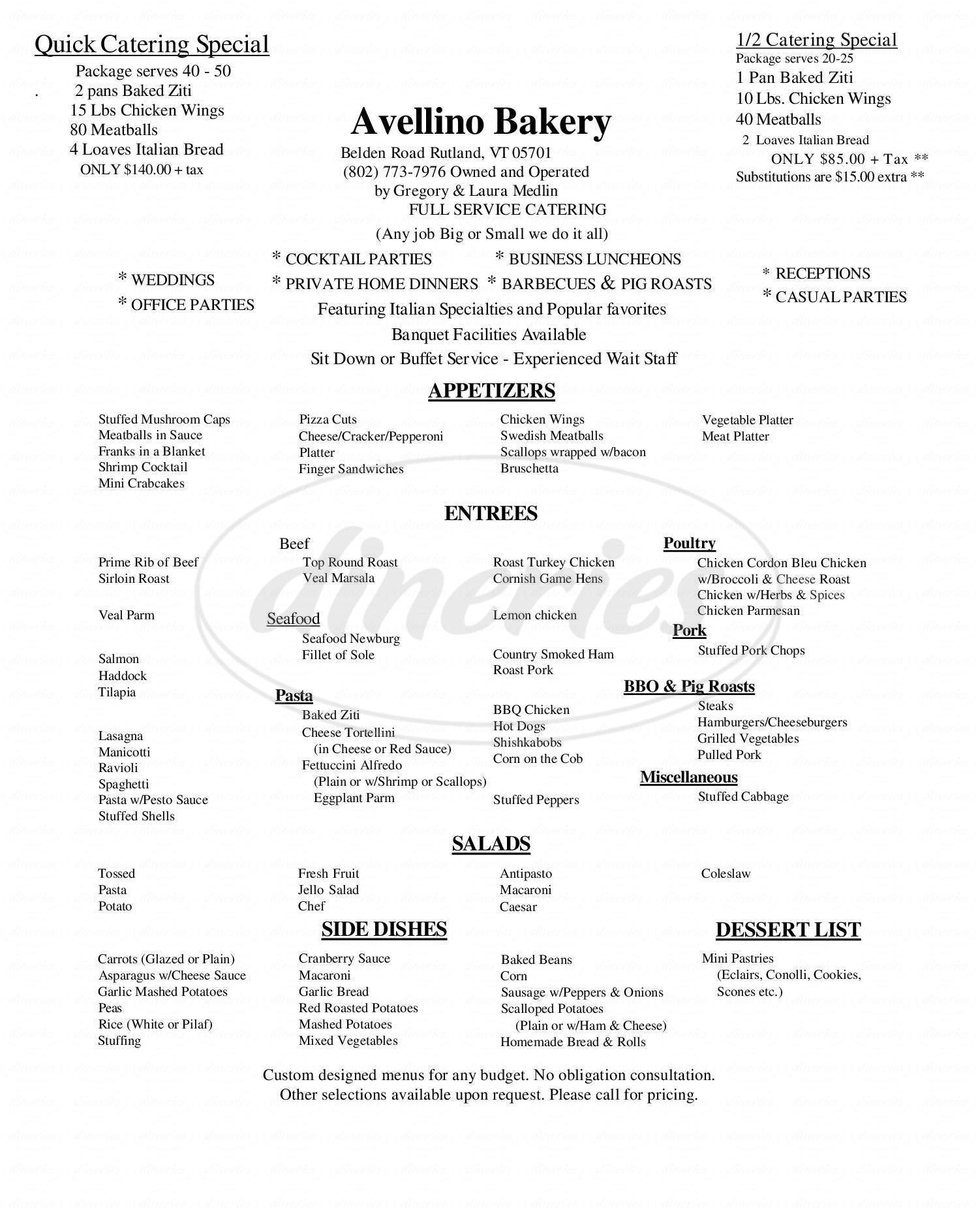 menu for Avellino Bakery & Pizza