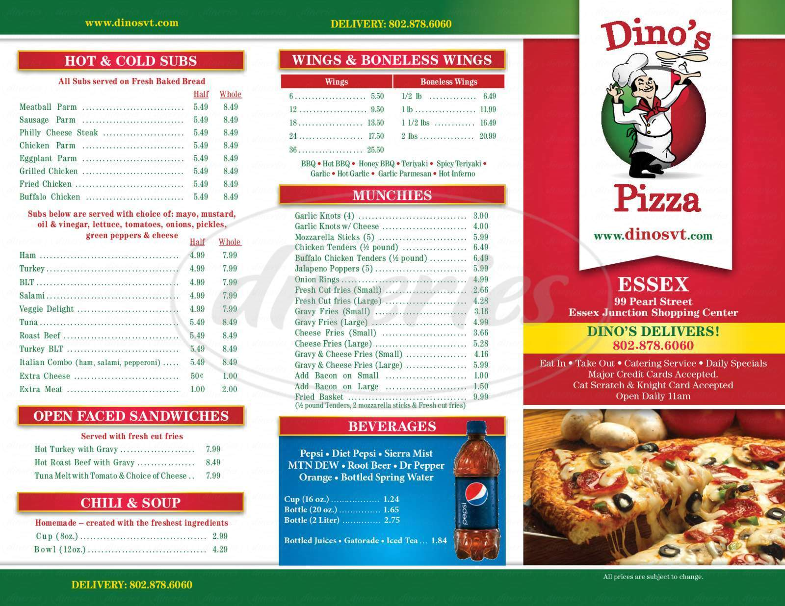 menu for Dino's Pizza