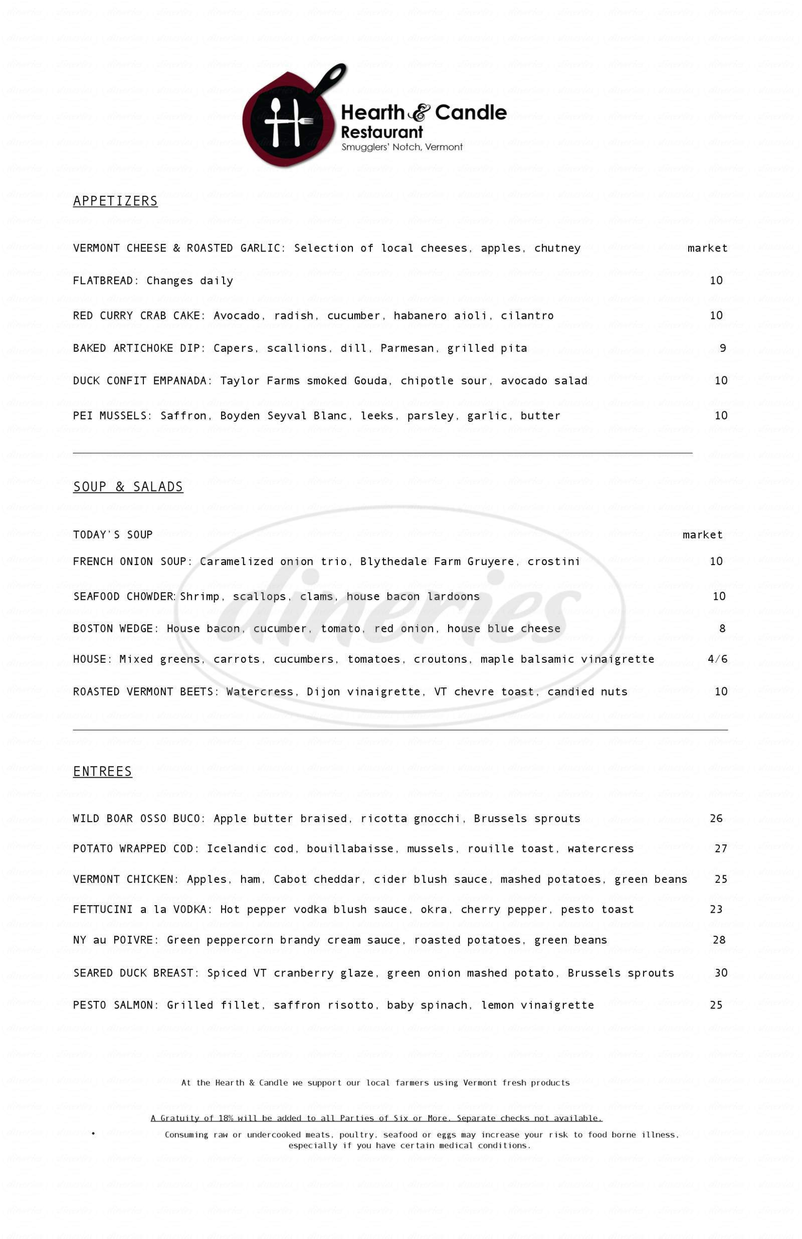 menu for Hearth & Candle
