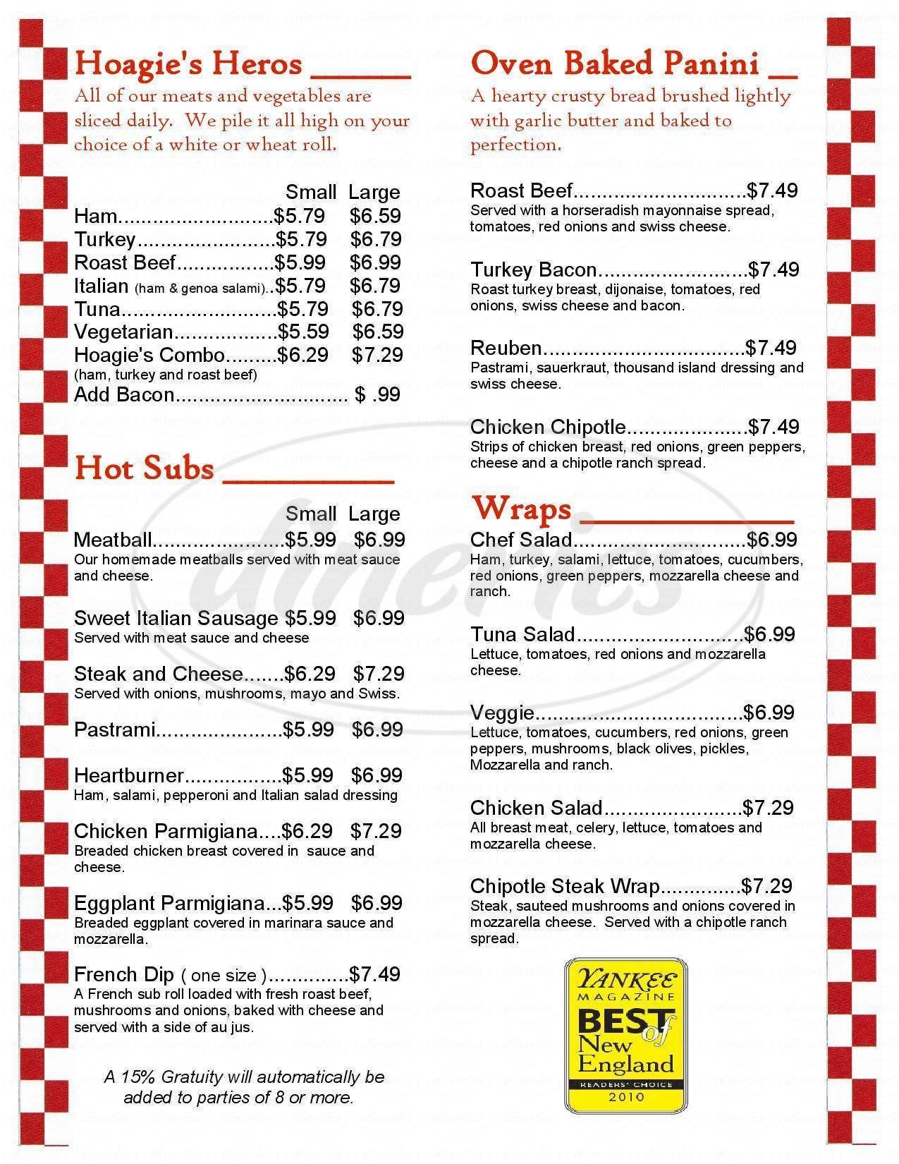 menu for Hoagie's Pizza & Pasta