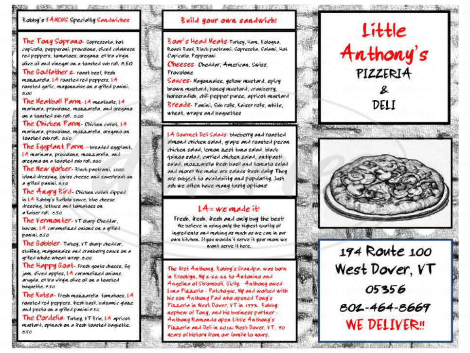 menu for Little Anthony's Pizzeria & Deli