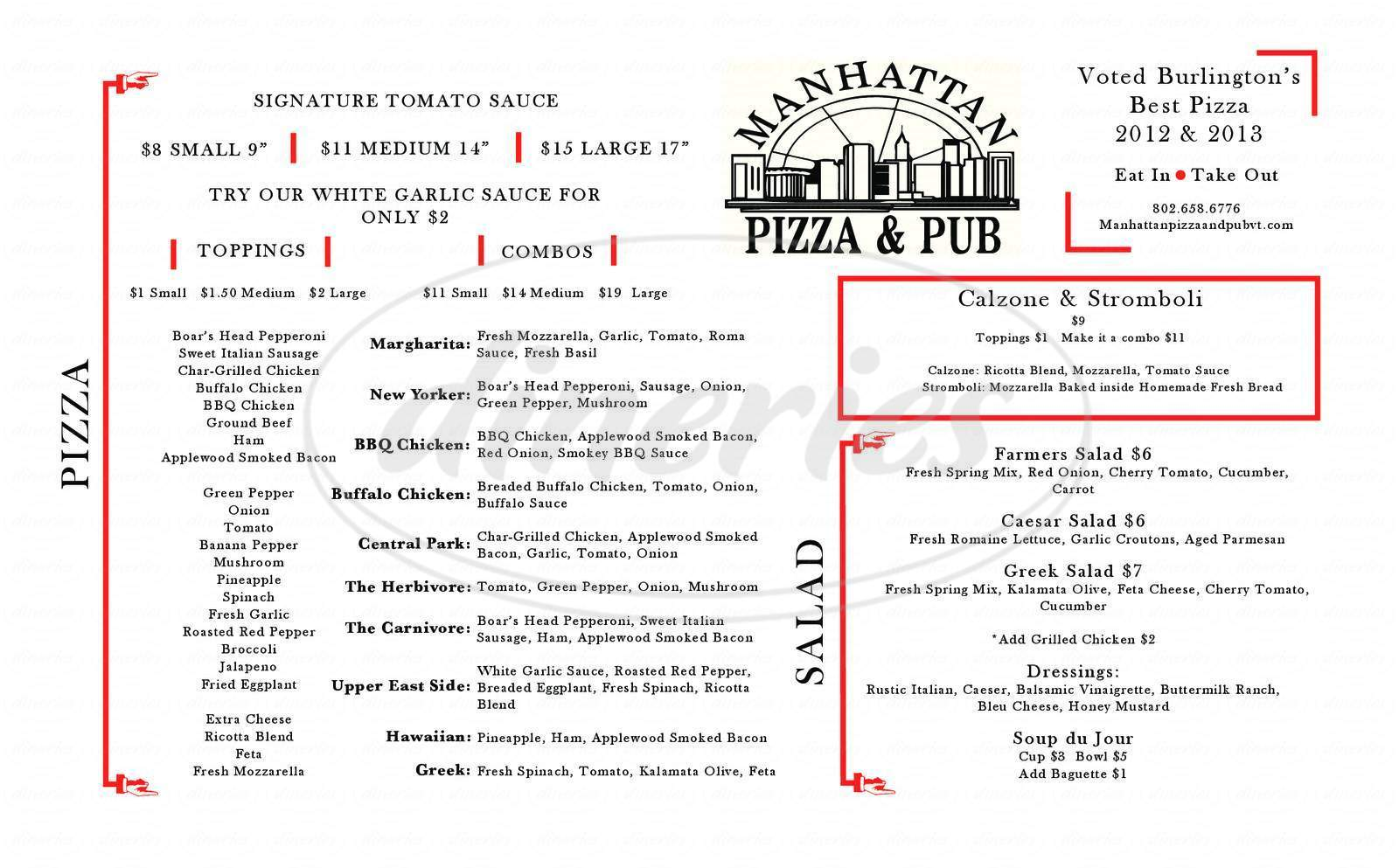 menu for Manhattan Pizza & Pub