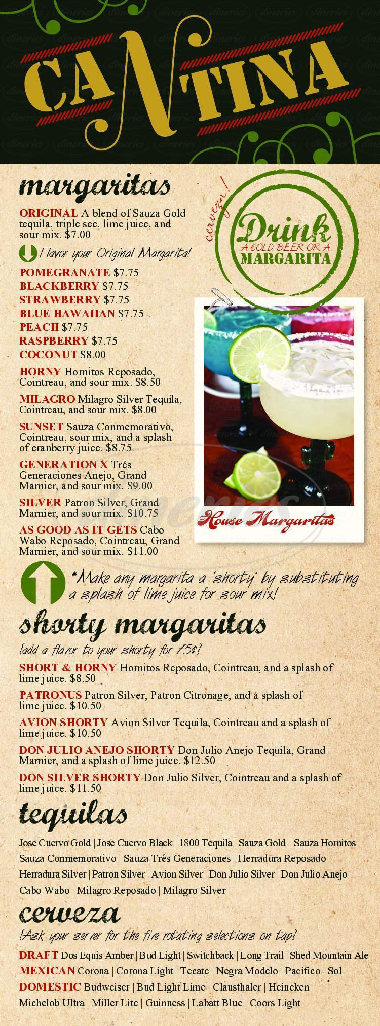 menu for Mexicali Grill & Cantina