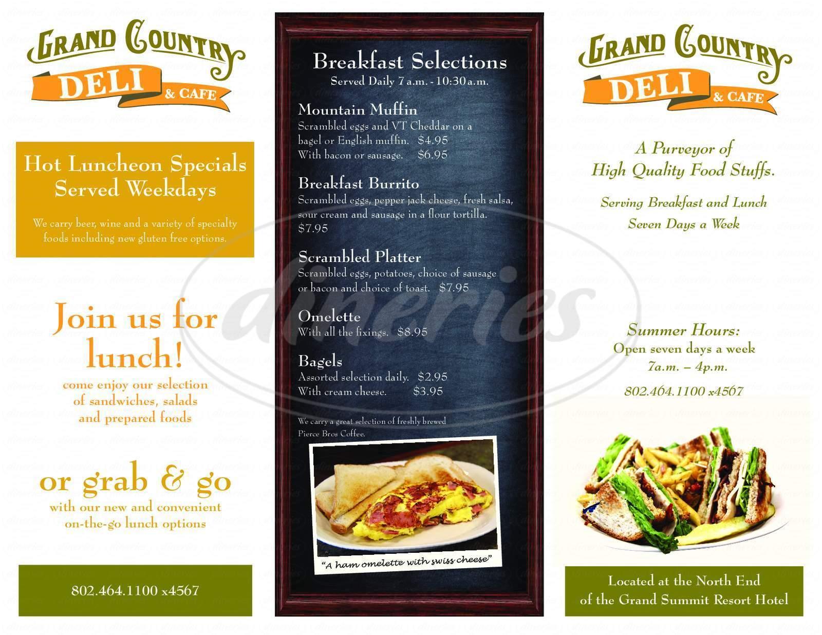 menu for Harriman's Restaurant